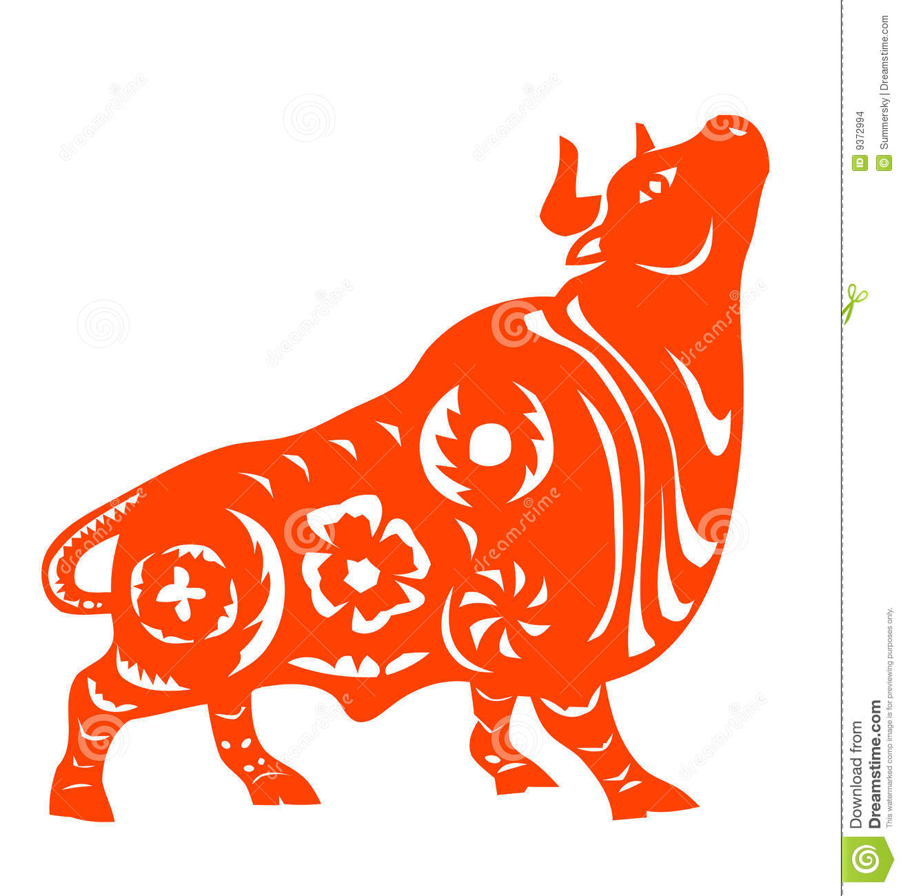 Chinese Zodiac of ox stock vector  Illustration of festival - 9372994