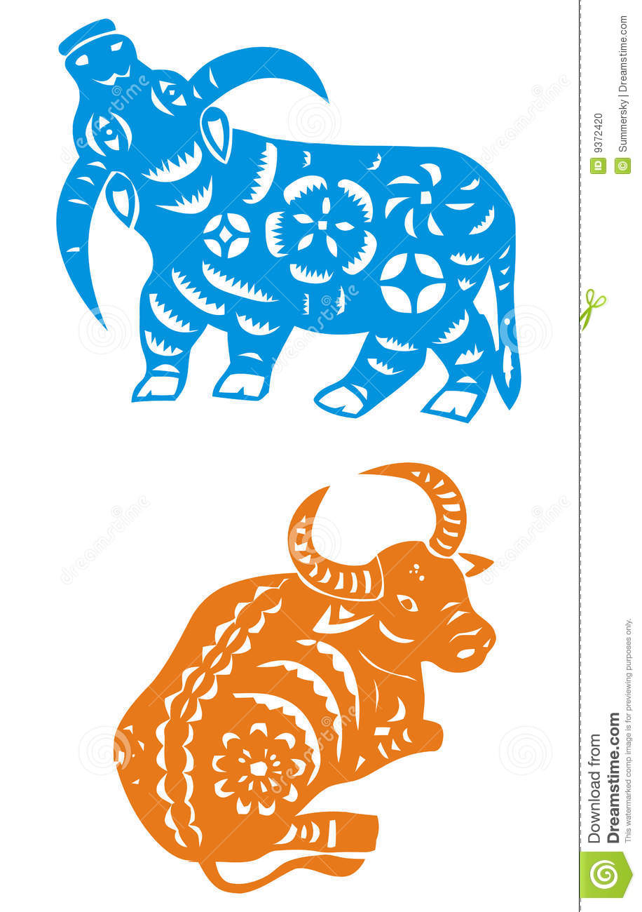 Chinese Zodiac of ox year stock vector  Illustration of