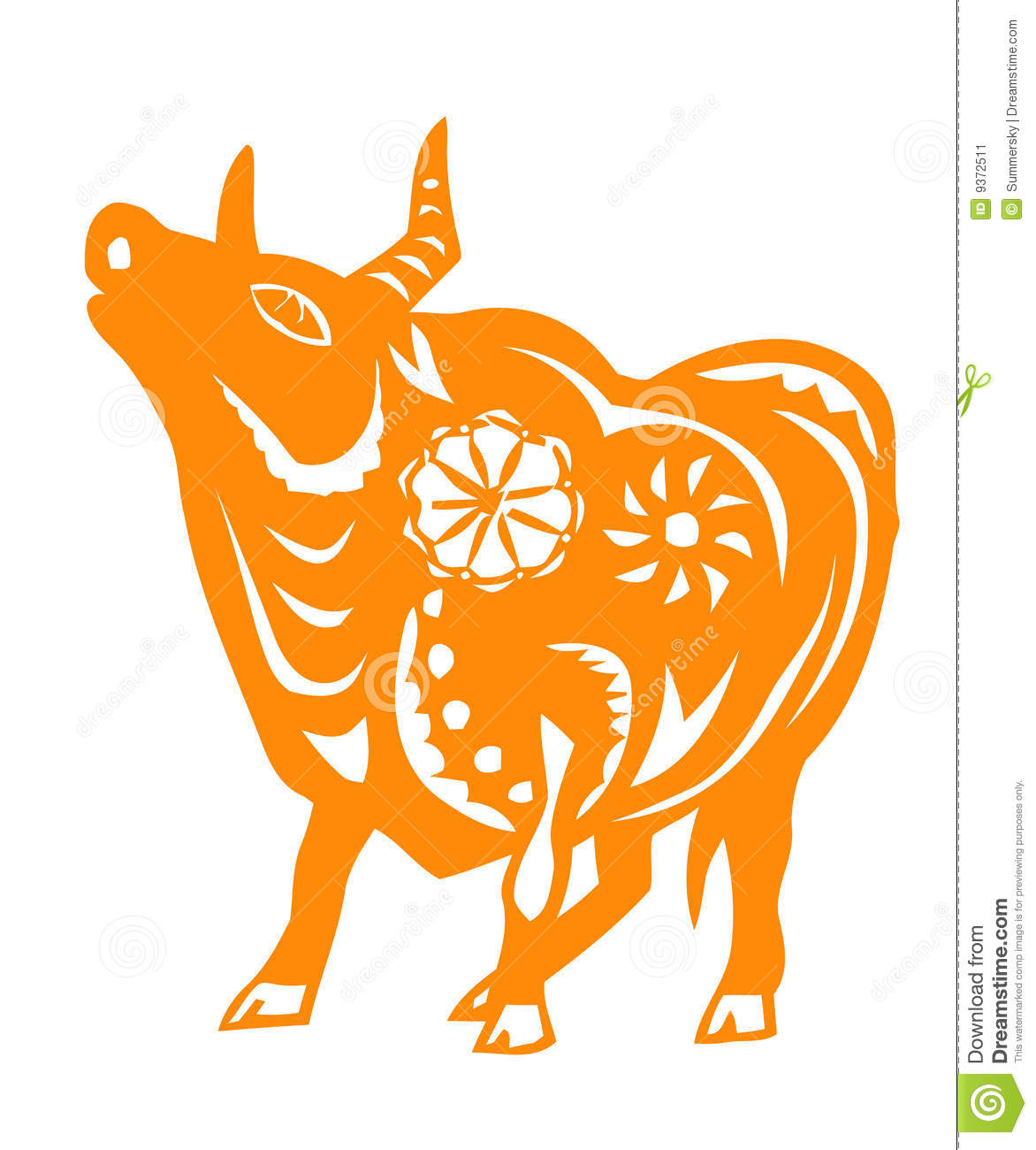 Chinese Zodiac of ox year stock vector  Illustration of cutting