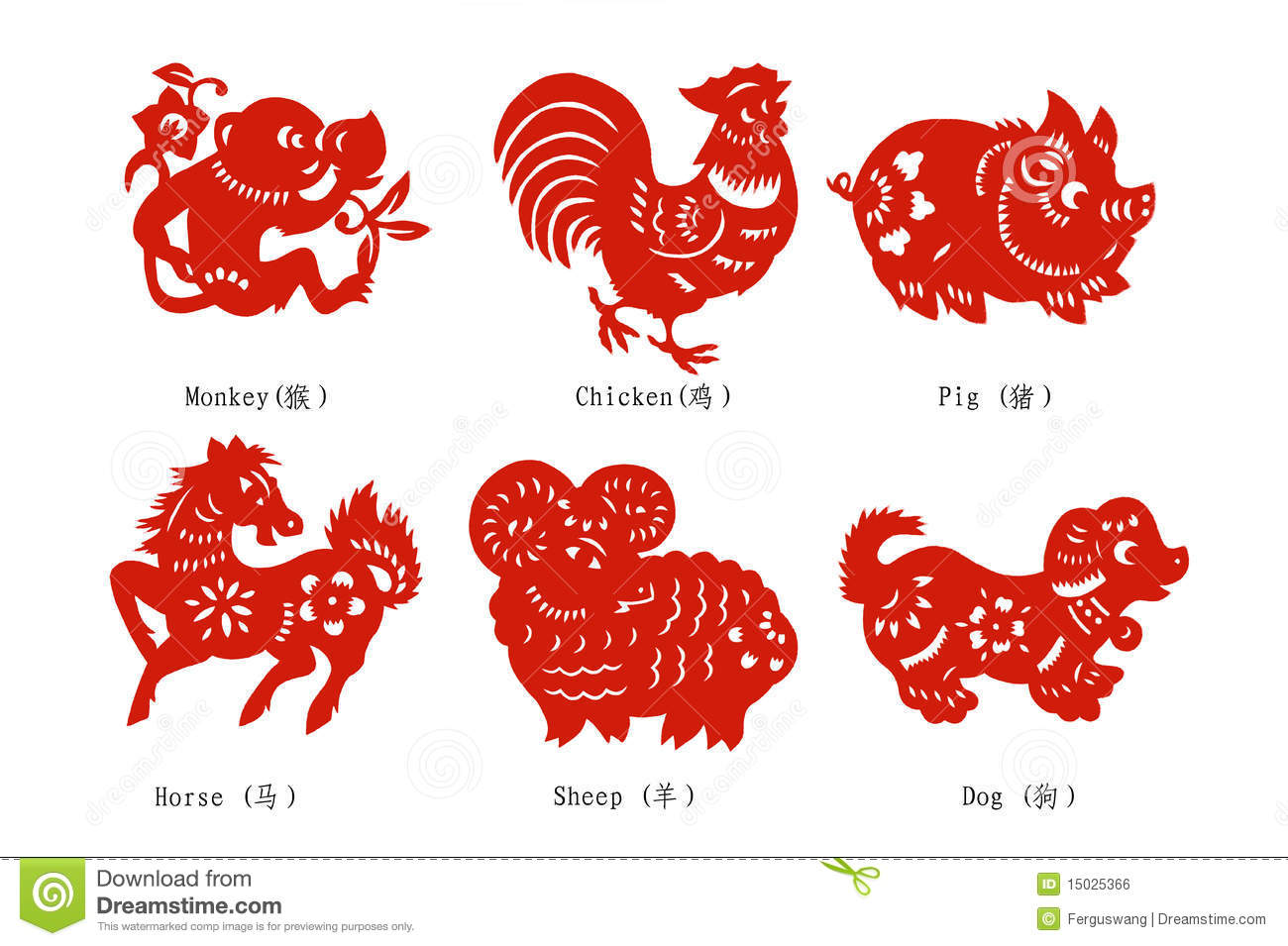 Chinese Zodiac Paper Cutting, six animals.