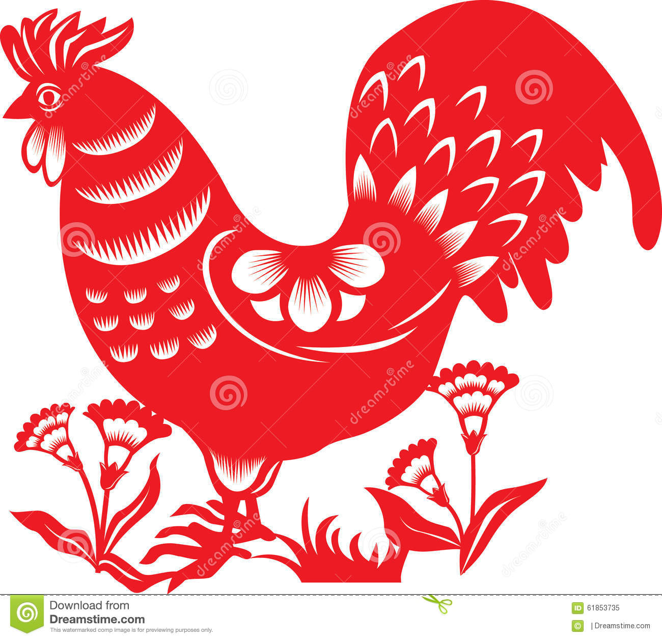 Chinese Zodiac : Rooster Stock Vector - Image: 61853735