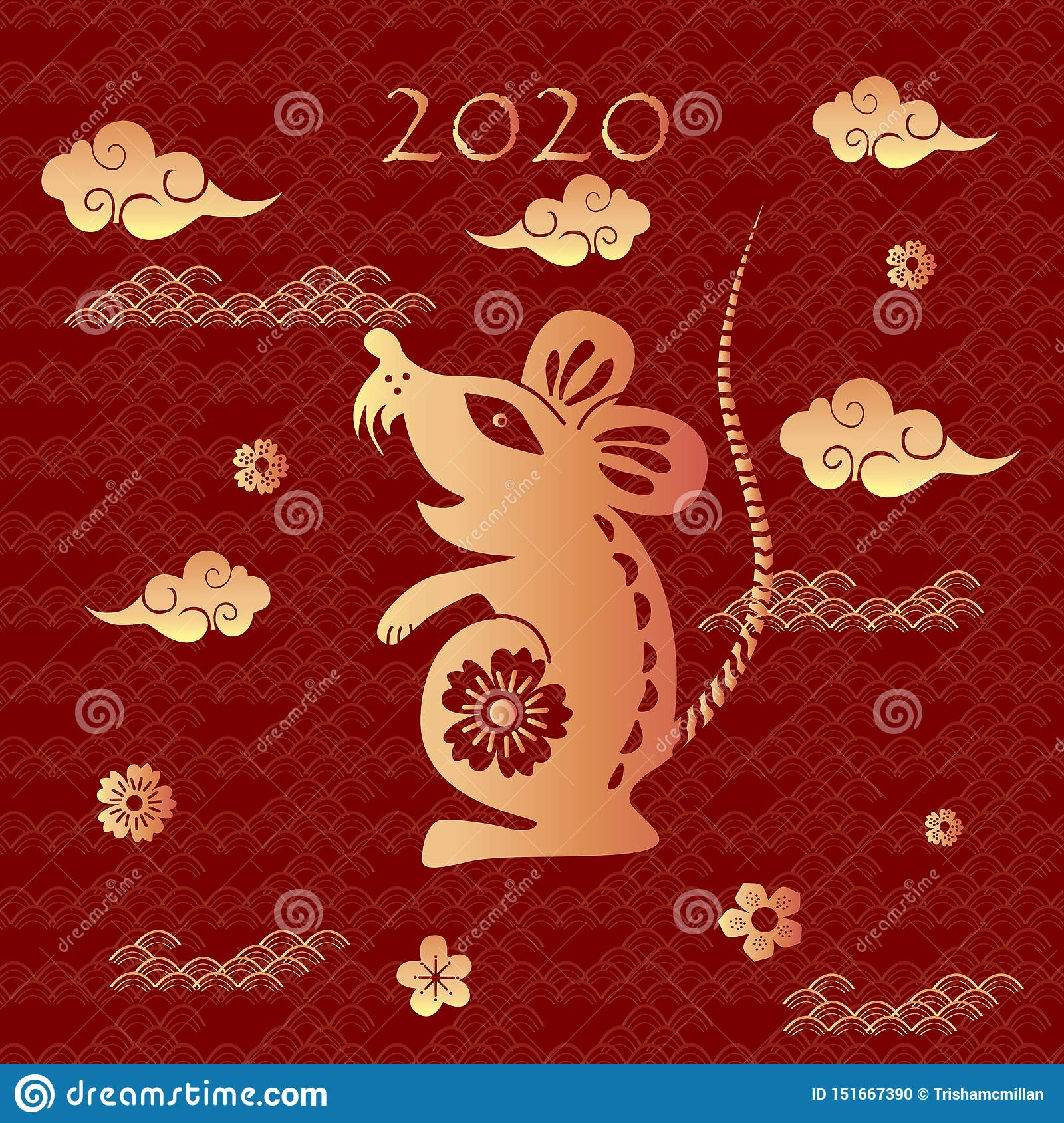 2020 Chinese New Year Date.Chinese Zodiac Sign Of The Rat With The Date 2020 Chinese