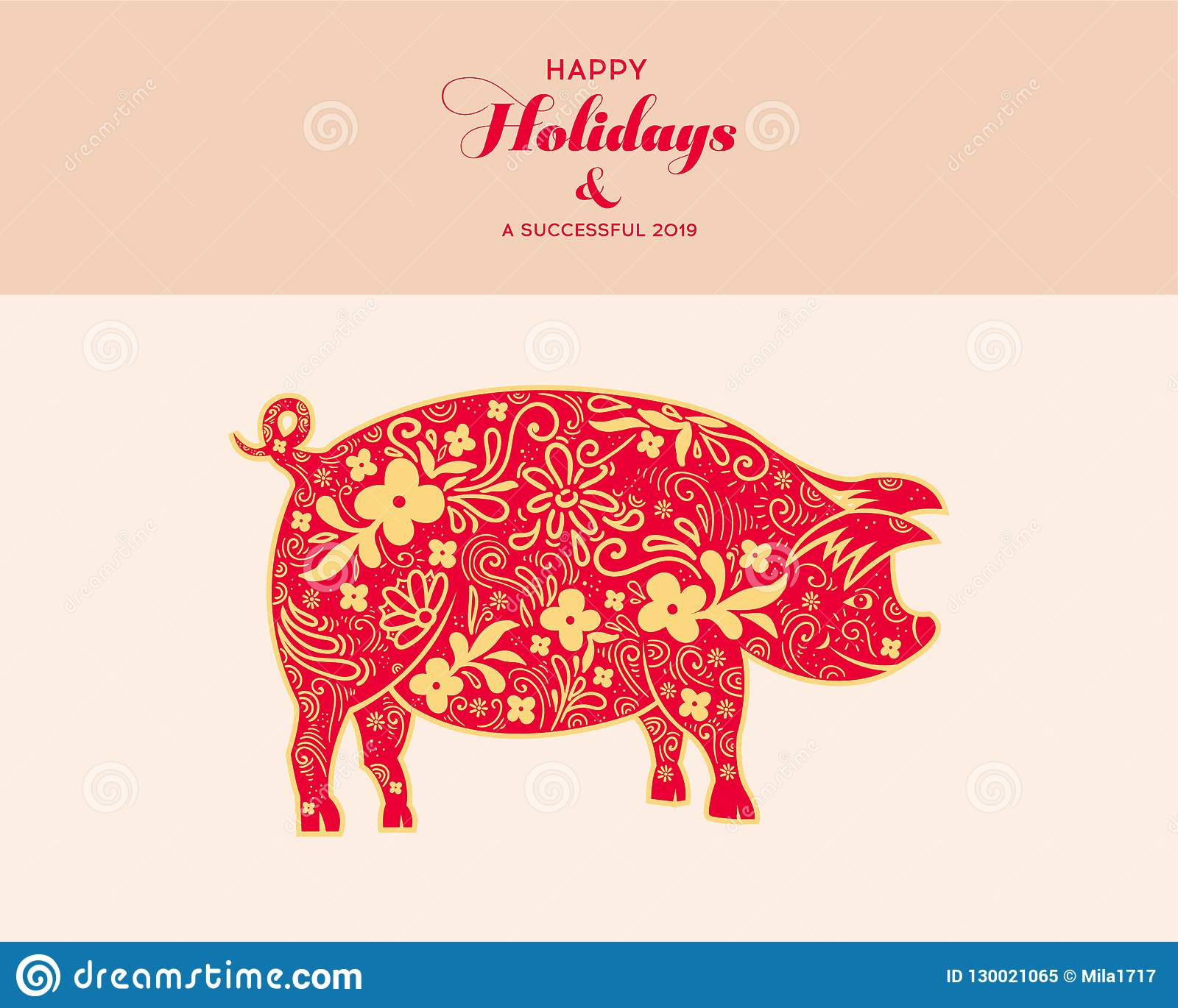 Chinese Zodiac Sign Year Of Pig Red Paper Cut Pig Happy Chinese