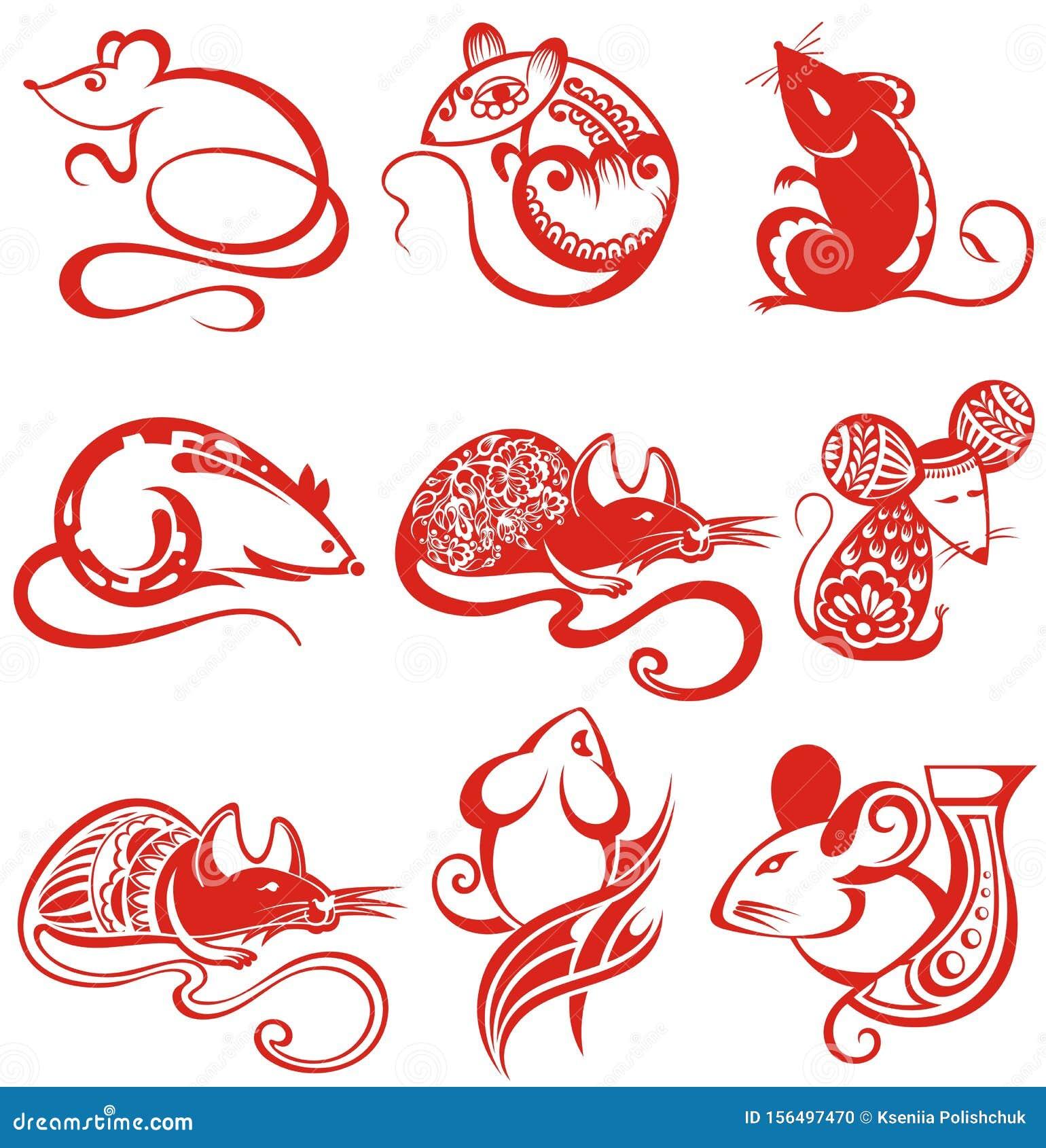 Happy Chinese New Year 2020.Set Of Chinese New Year 2020 ...