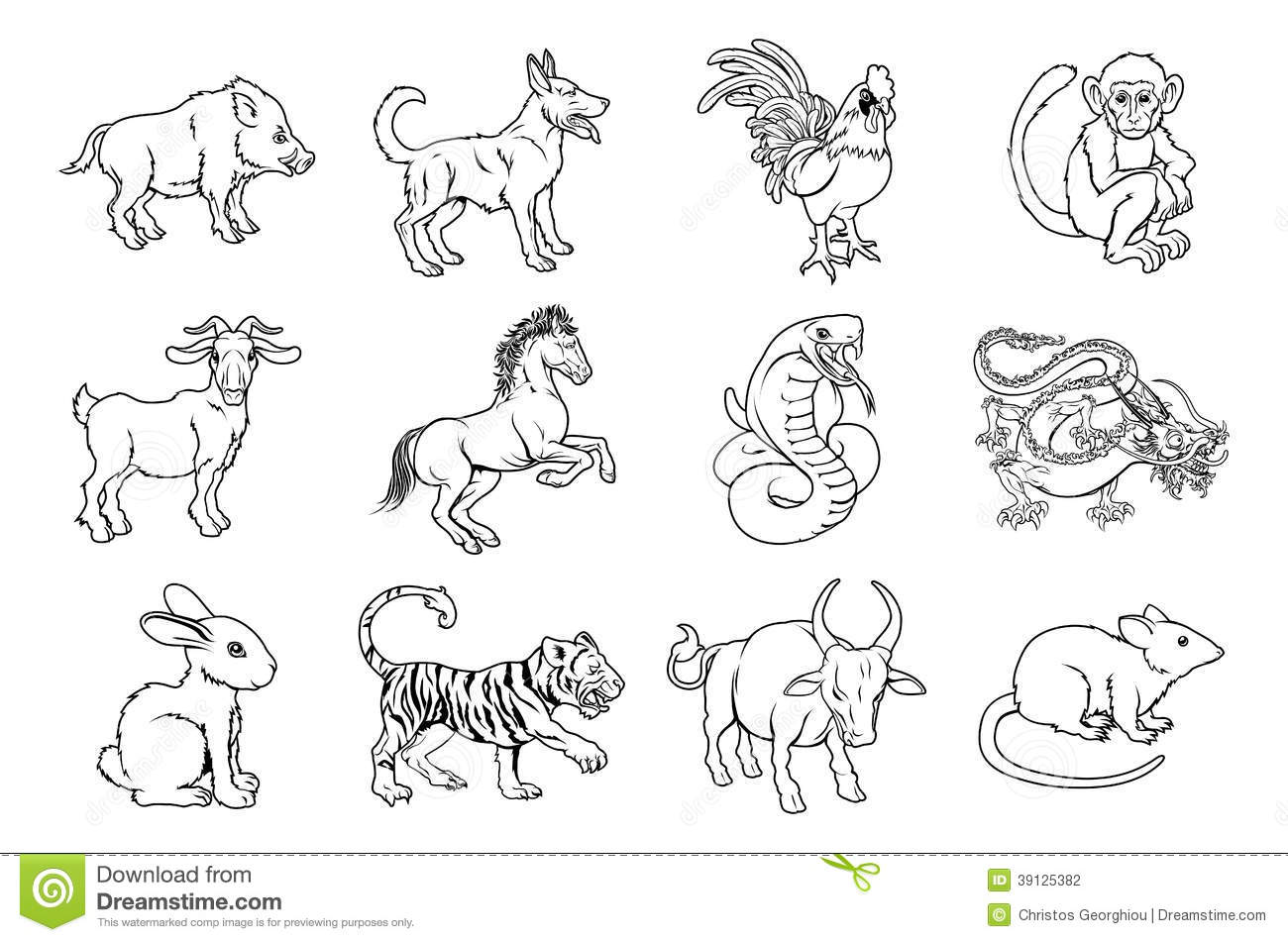 Chinese Zodiac Signs Stock Vector Image 39125382