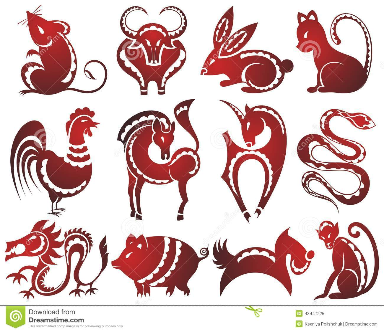 12 Chinese Zodiac Signs Stock Vector Illustration Of Luck 43447225