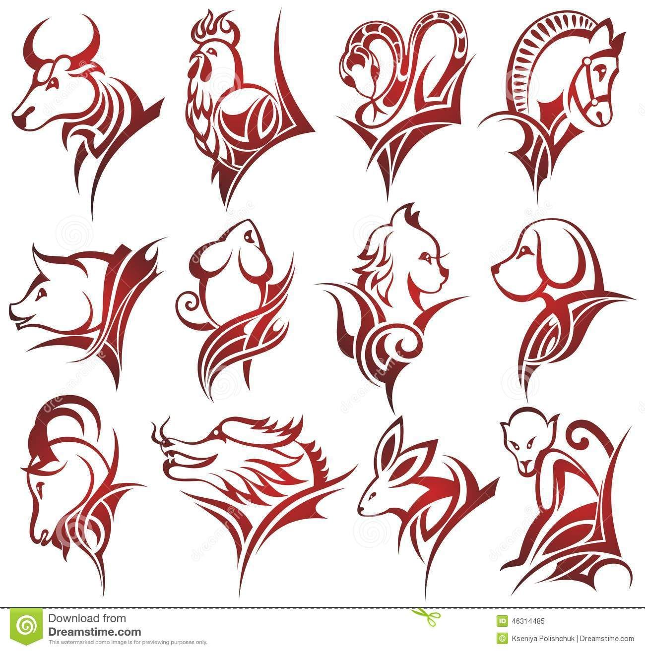 Chinese Zodiac Signs Stock Vector. Illustration Of Happy