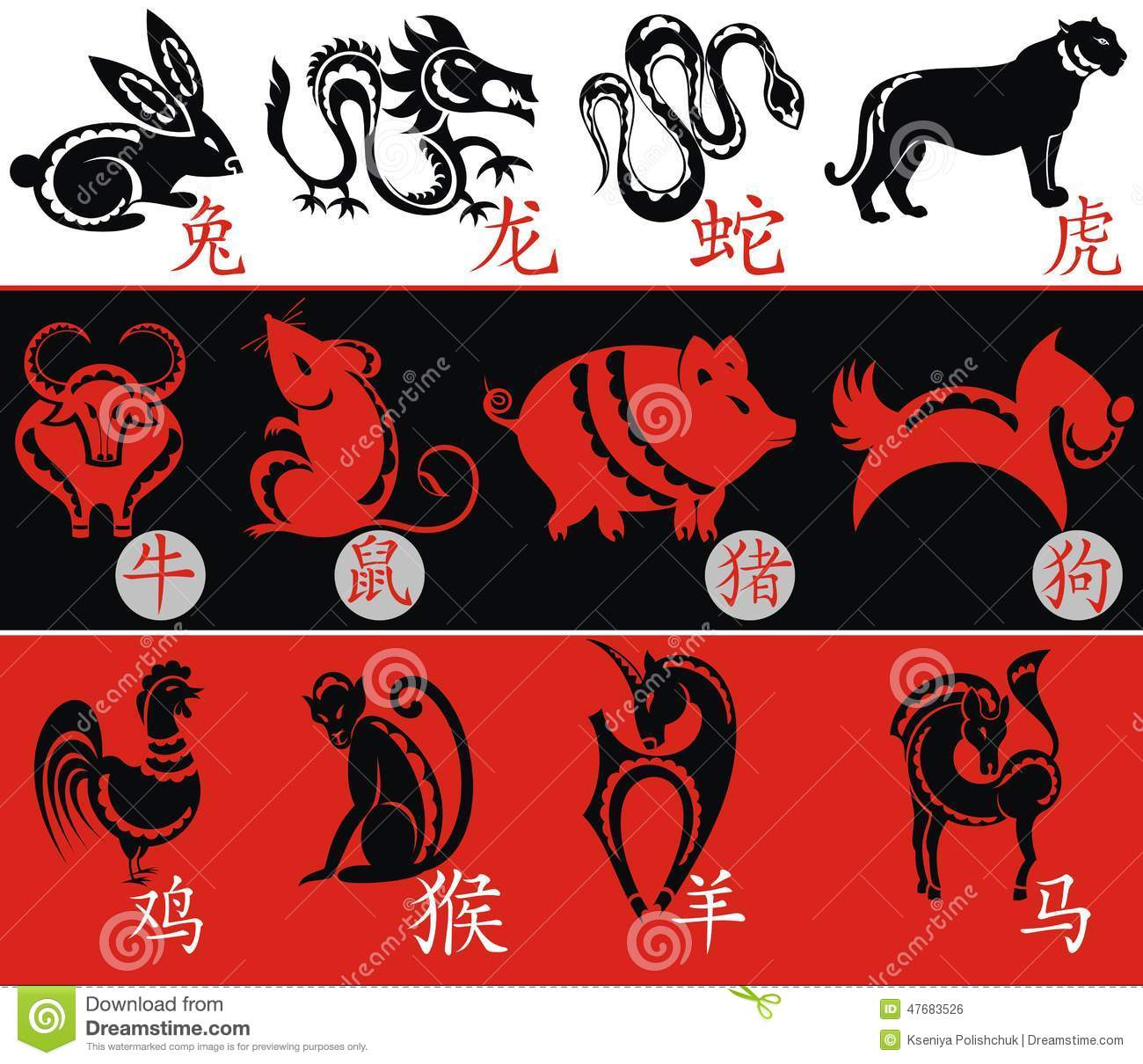 Chinese Zodiac Twelve Animal Symbols Stock Vector Illustration Of