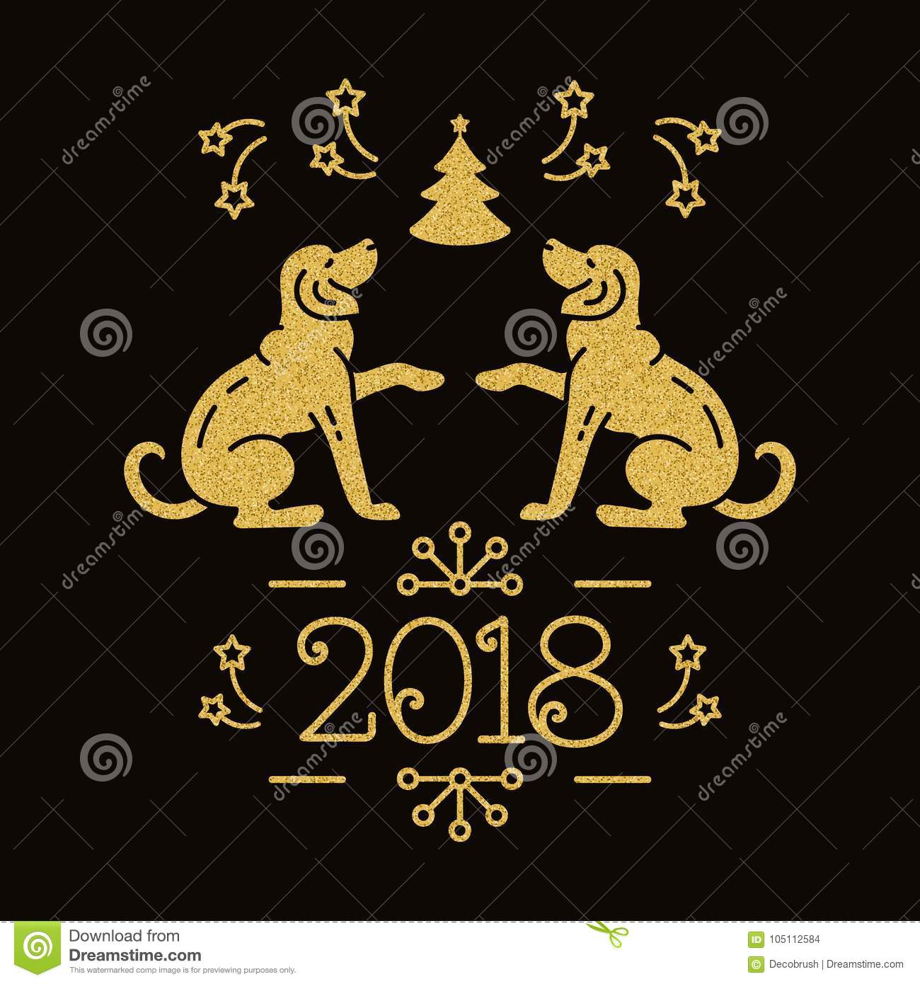 Chinese Zodiac Year Of The Dog 2018 Christmas Card Holiday Golden