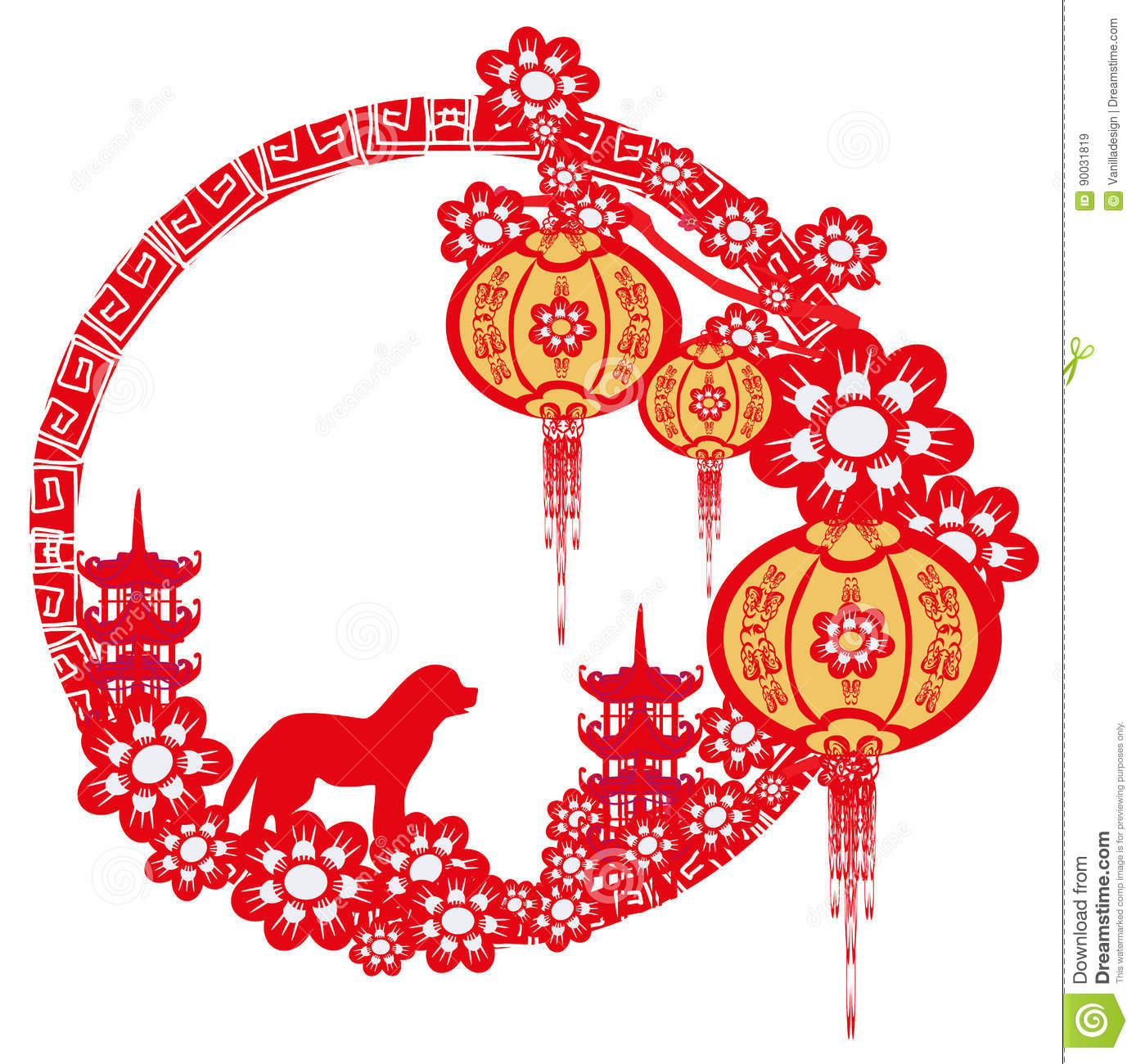 chinese zodiac the year of dog stock vector illustration of architecture happy 90031819. Black Bedroom Furniture Sets. Home Design Ideas