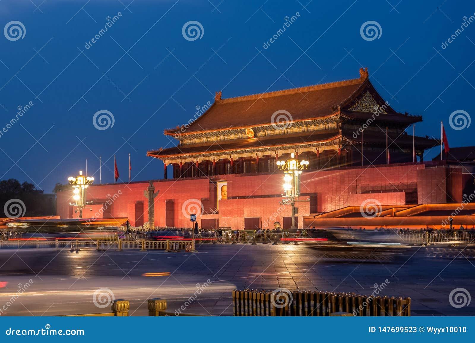 Chinesische alte Nachtszene Klassiker Pekings Tiananmen