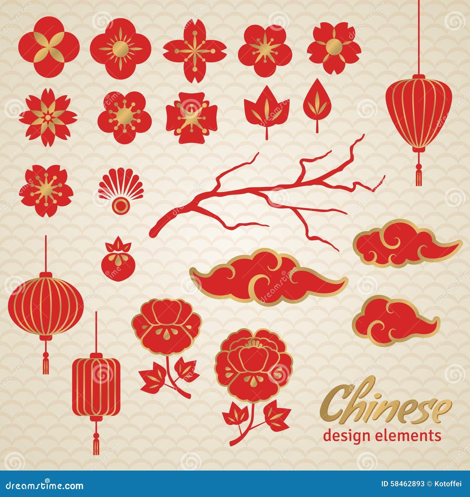 chinesische dekorative ikonen wolken blumen und vektor. Black Bedroom Furniture Sets. Home Design Ideas