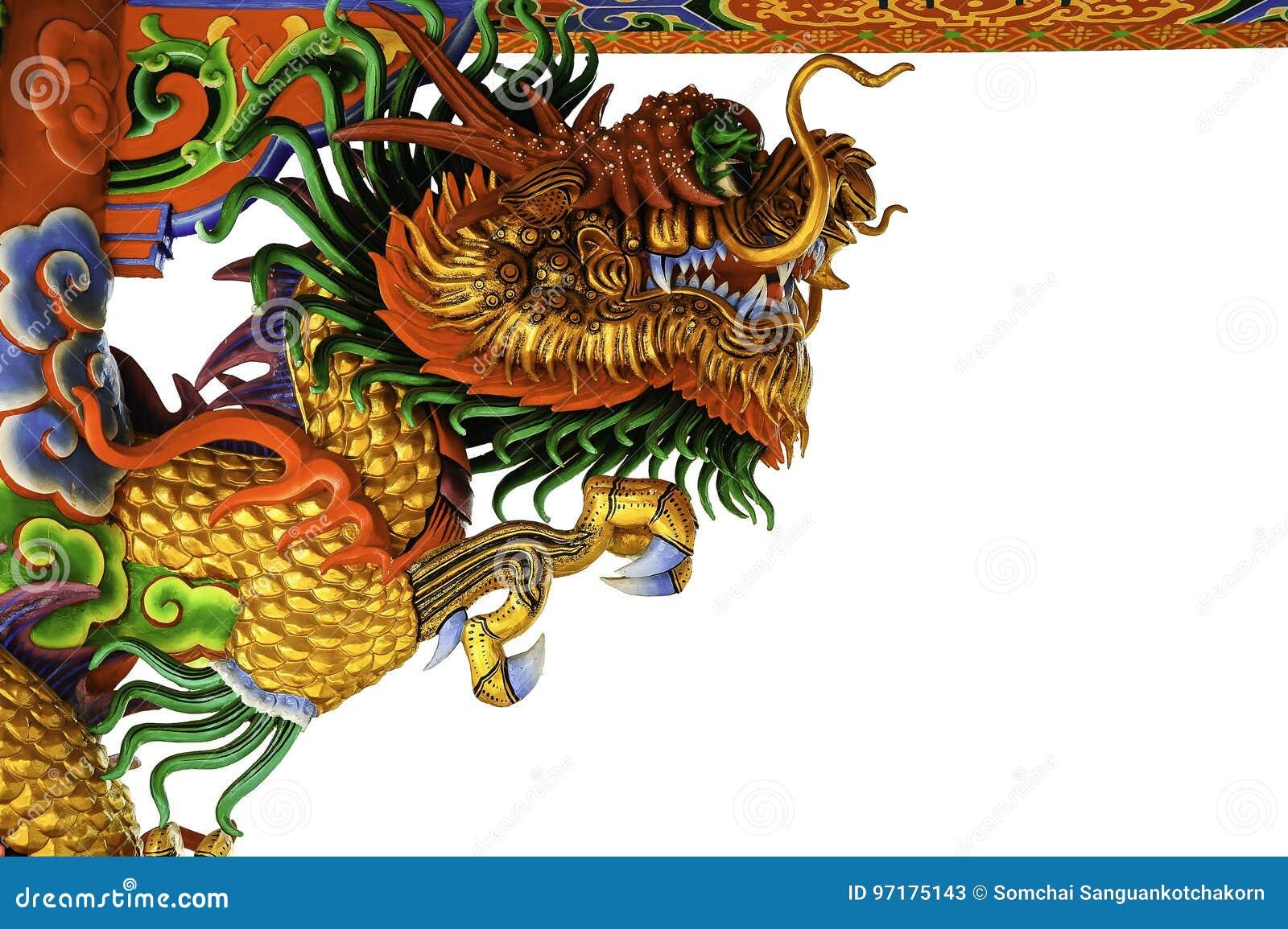 Chinesische Kunst Der Skulptur Des Goldenen Drachen Stockbild Bild Von Goldenen Chinesische 97175143