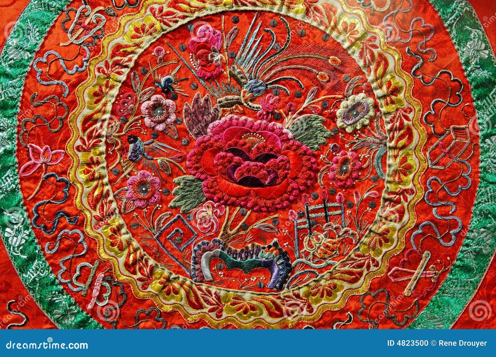 Chinesische Kunst Stickerei Stockfoto Bild Von Japanisch Orient 4823500