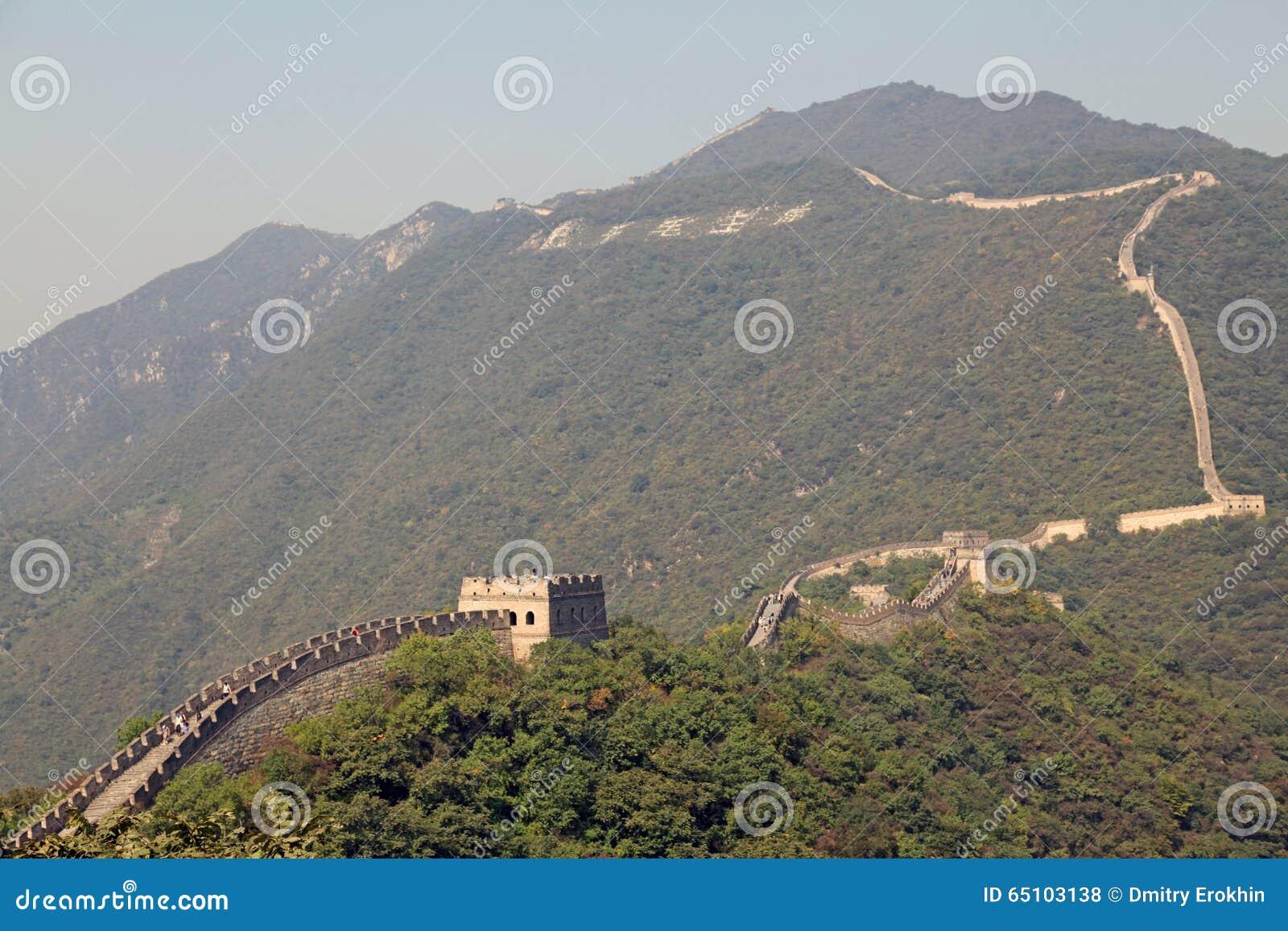 Chinesische Mauer Karte.Chinesische Mauer Von China Mutianyu Redaktionelles Stockfoto Bild