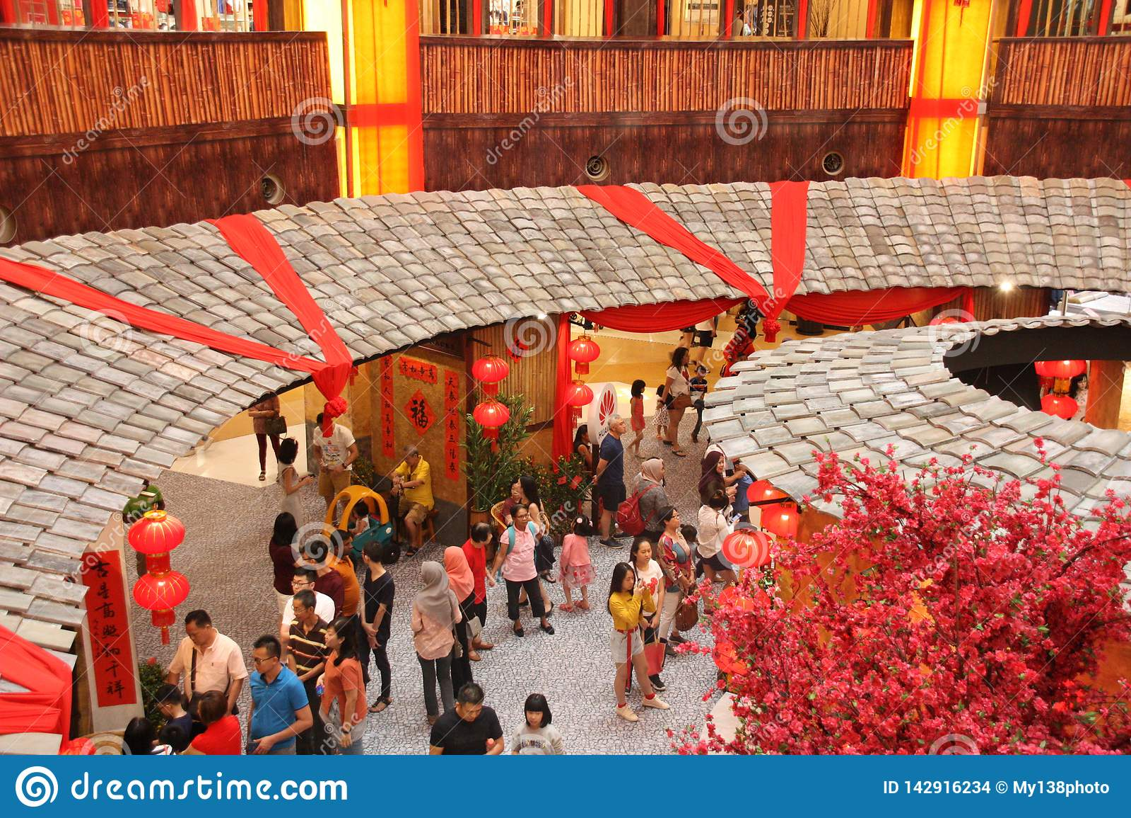 Chinesische neues Jahr-Dekoration im Einkaufszentrum