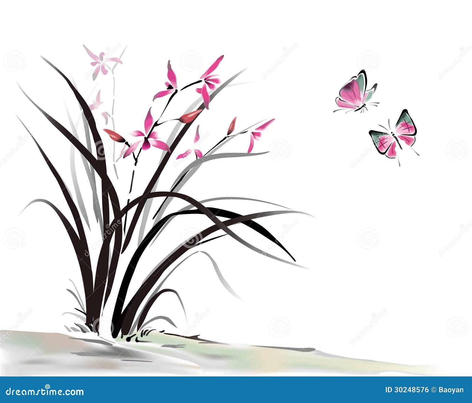 Orchidee und Schmetterling