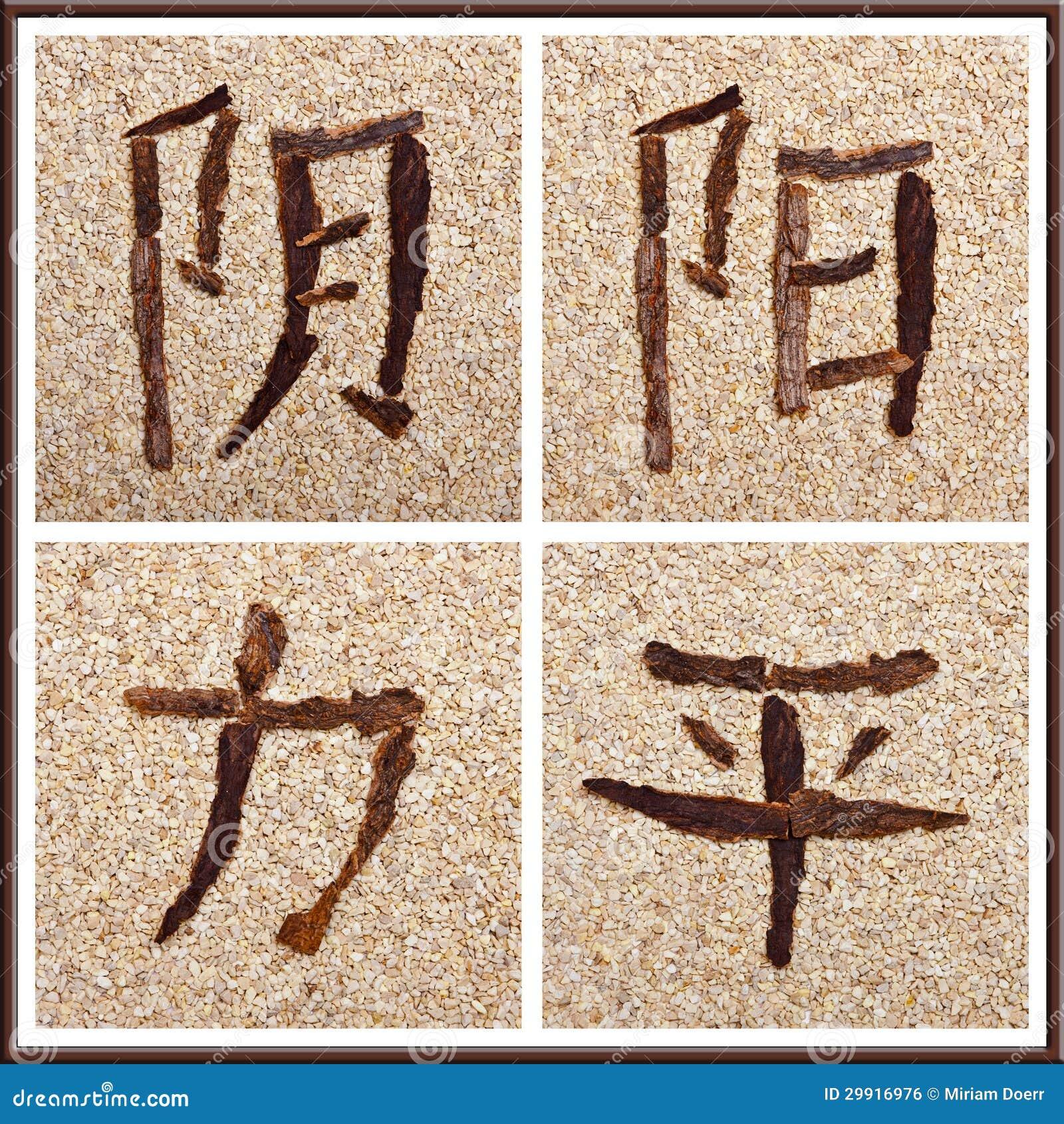 Chinesische Schriftzeichen Für Yin, Yang, Stärke, Frieden ...