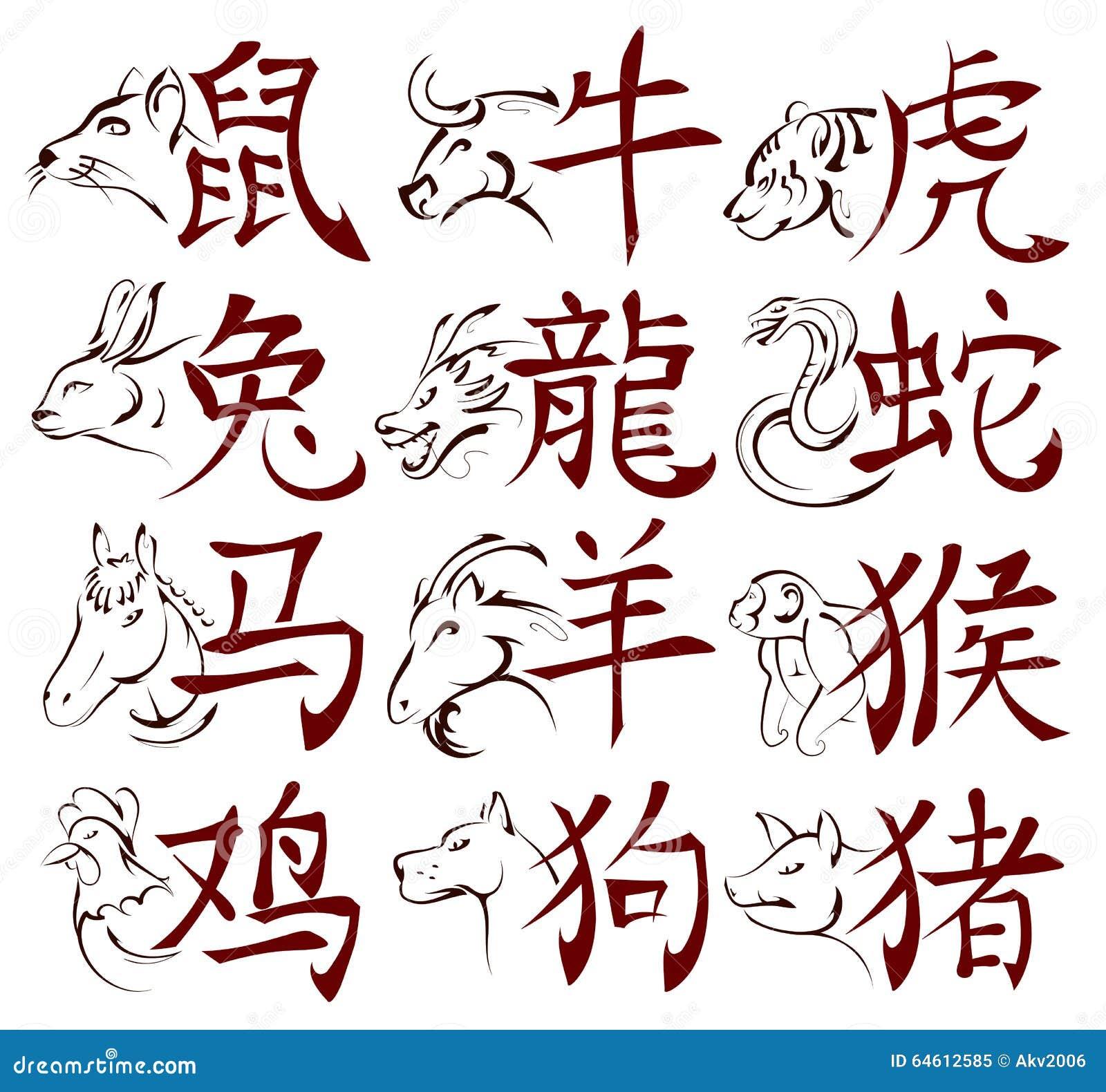 chinesische sternzeichen mit hieroglyphen vektor abbildung. Black Bedroom Furniture Sets. Home Design Ideas