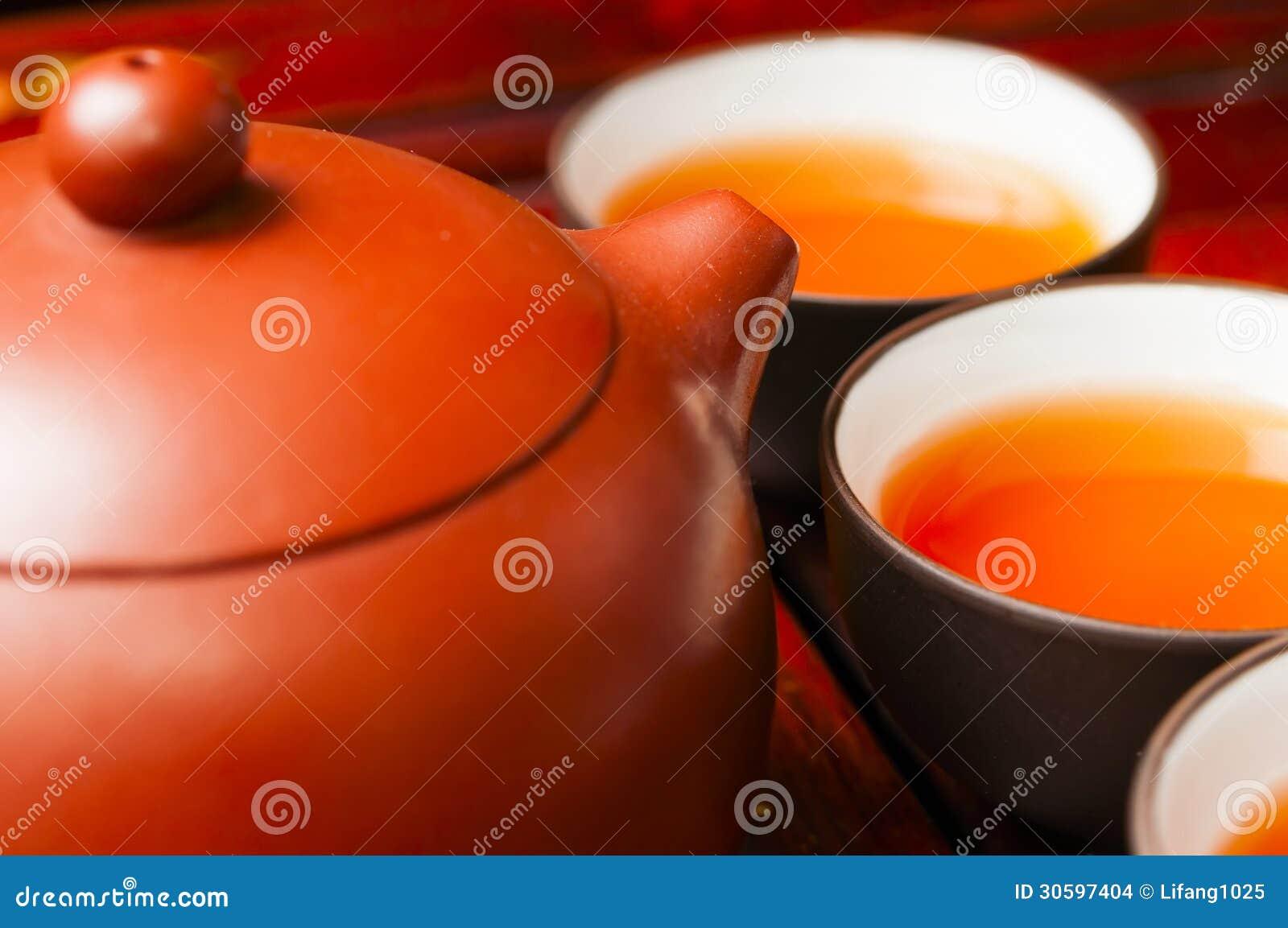 Chinesische Teekanne Und Schale Stockfoto Bild Von Bambus Kultur
