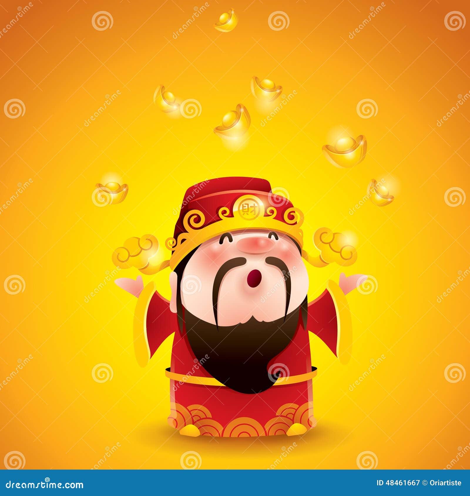 Chinesischer Gott des Reichtums Fallende Goldbarren