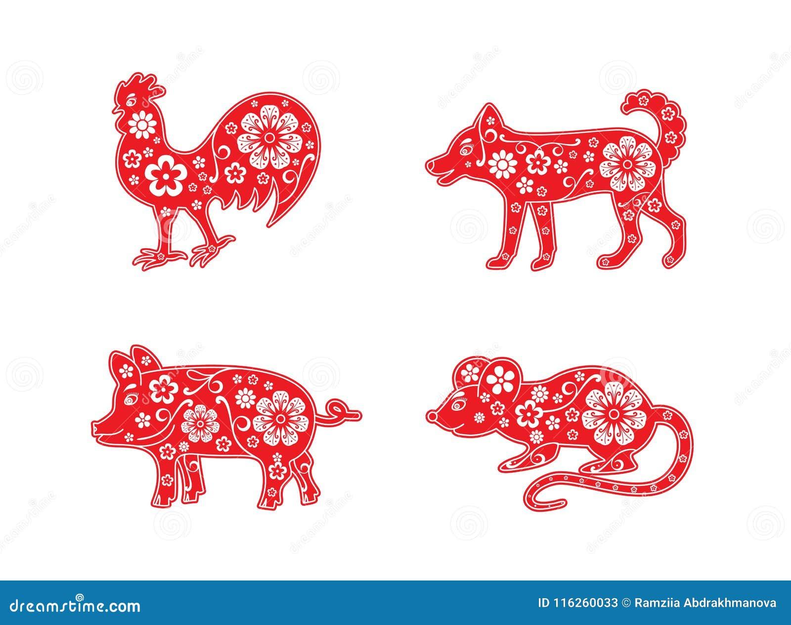 Chinesischer Horoskoptiersatz Hahn und Hund, Schwein und Ratte Dekoratives Element der Blume
