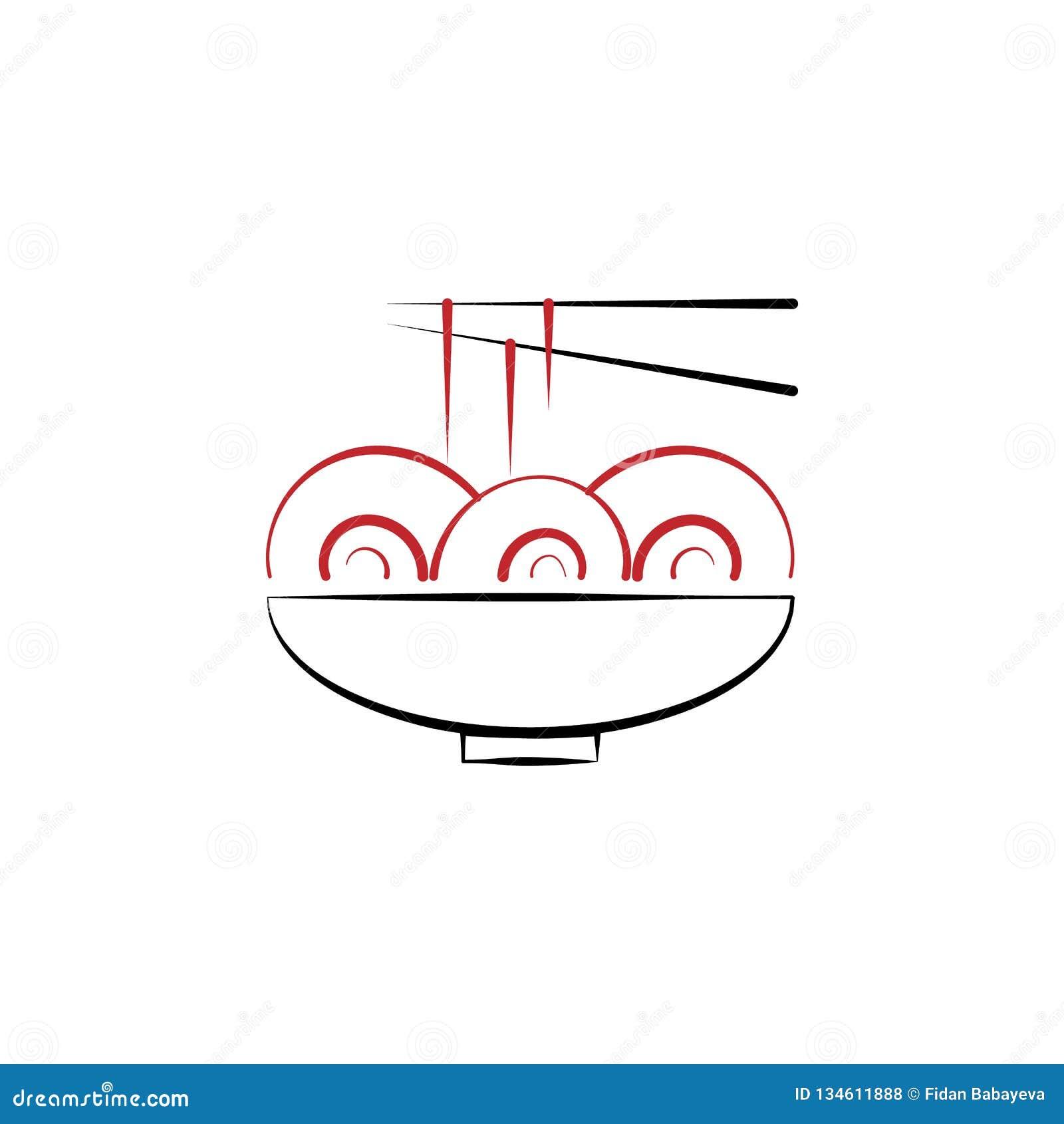 Chinesisches neues Jahr, Nudeln, Nahrungsmittelikone Kann für Netz, Logo, mobiler App, UI, UX verwendet werden