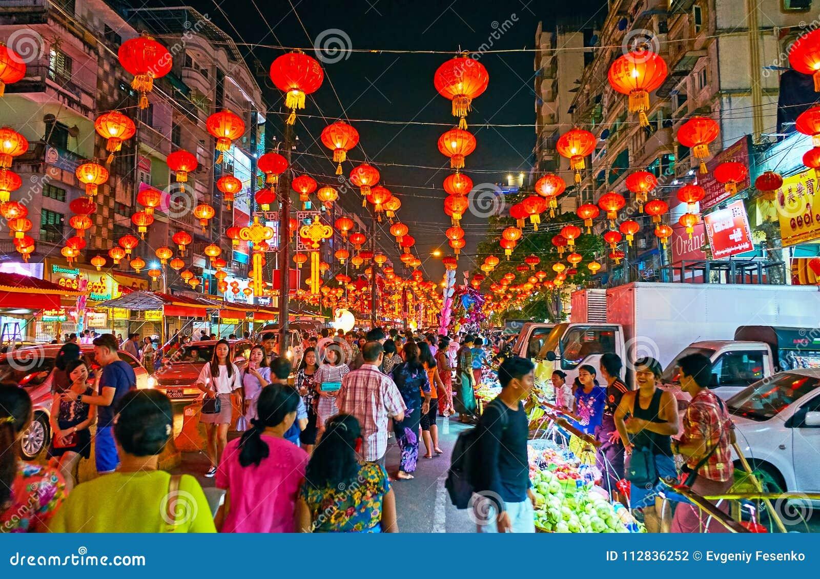 Chinesisches Neujahrsfest in Chinatown von Rangun, Myanmar