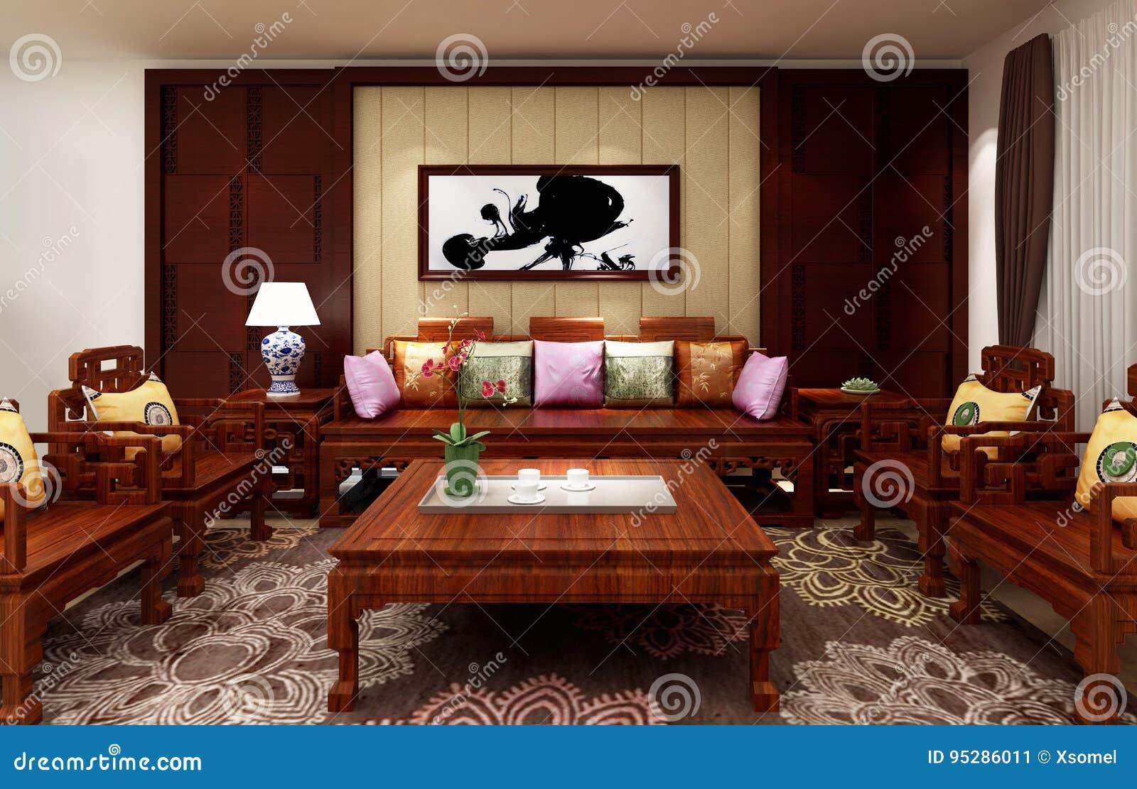 Chinesisches Wohnzimmer, Hintergrund Der Illustration 3D Stock ...