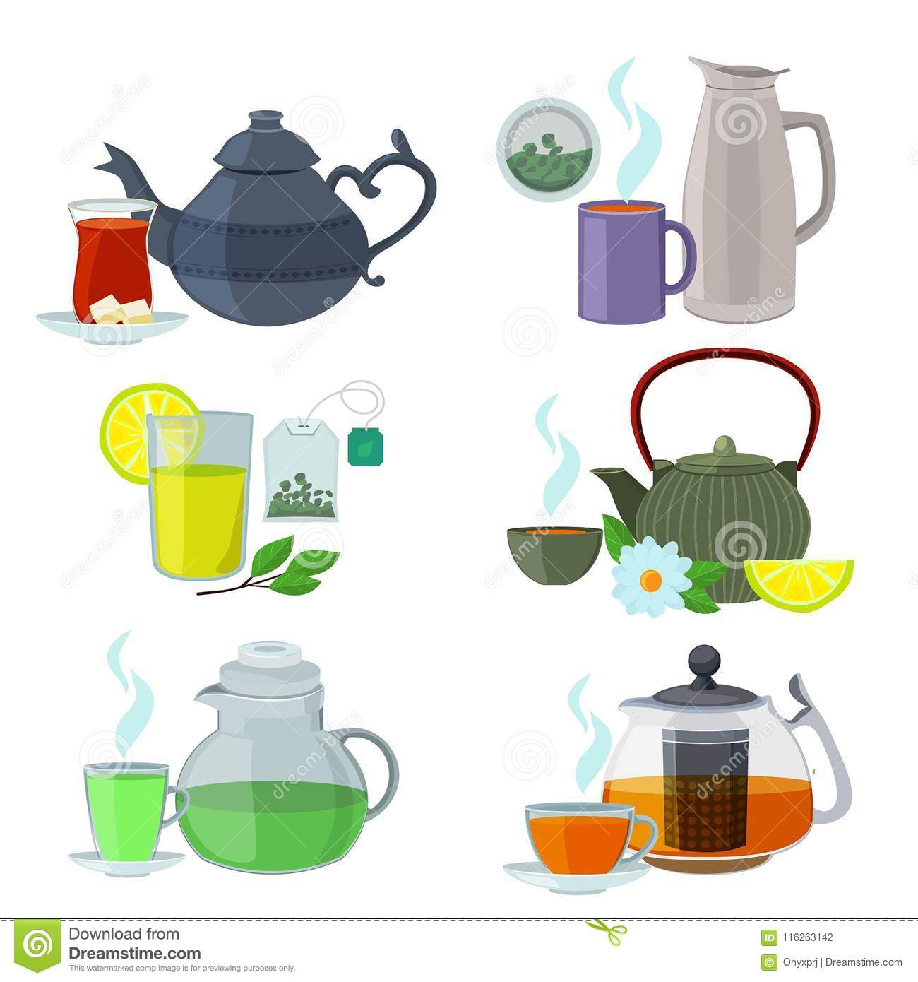 Chinesse English And Other Different Types Of Tea Vector Set