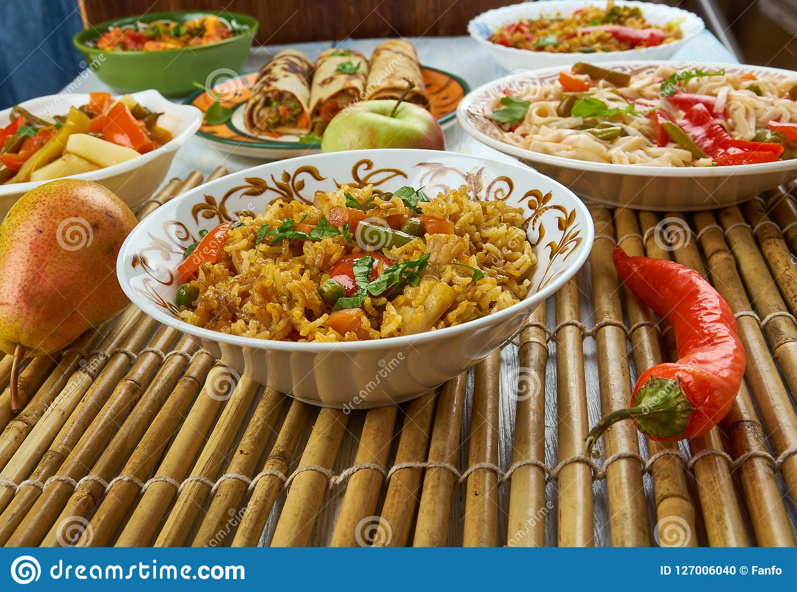 Ching`s Schezwan Fried Rice Masala. Schezwan cuisine, Asia  Chinese cuisine , Traditional assorted dishes, Top view Stock Photo