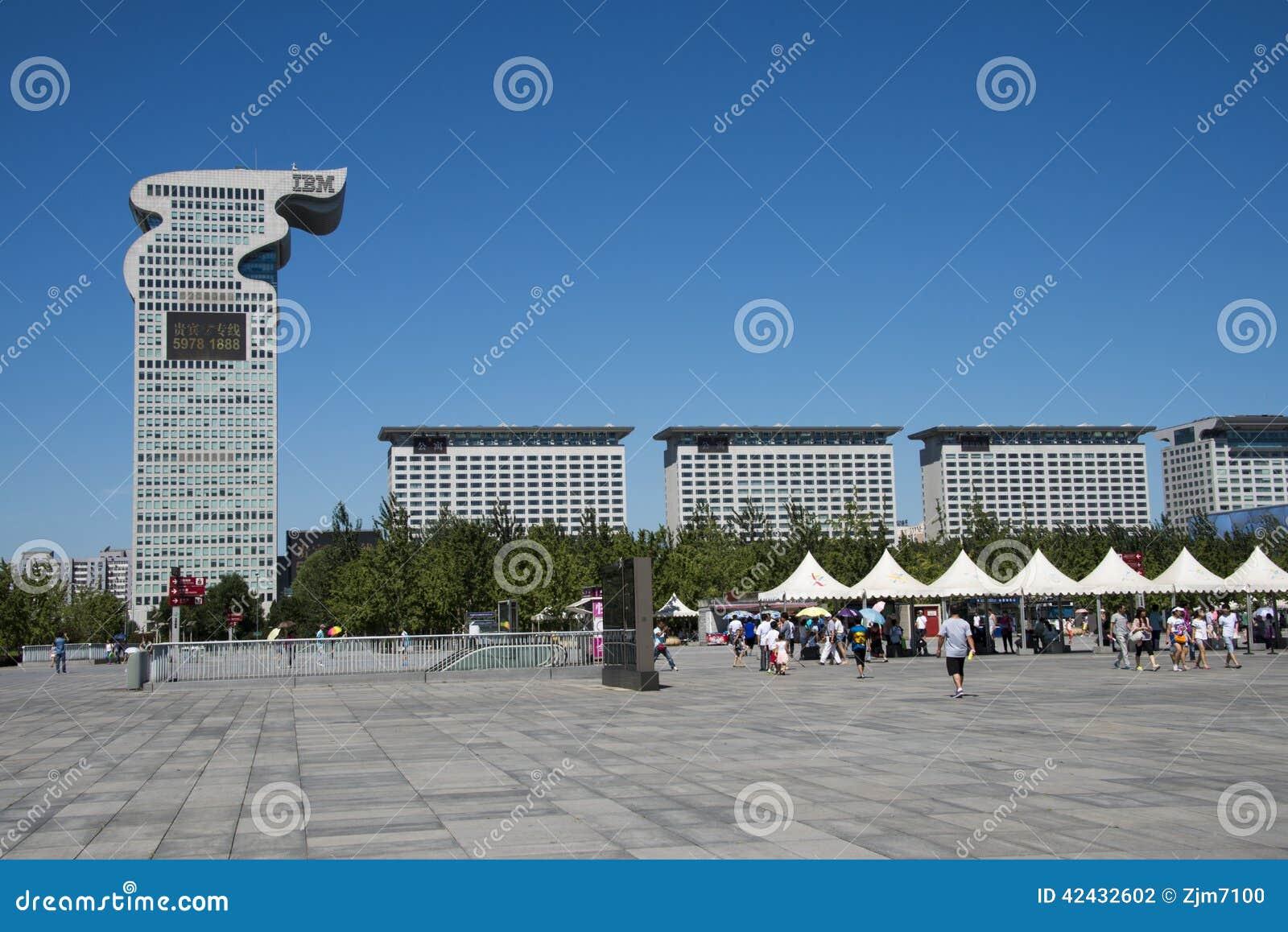 Chino asiático, Pekín, arquitectura moderna, plaza de Pangu,