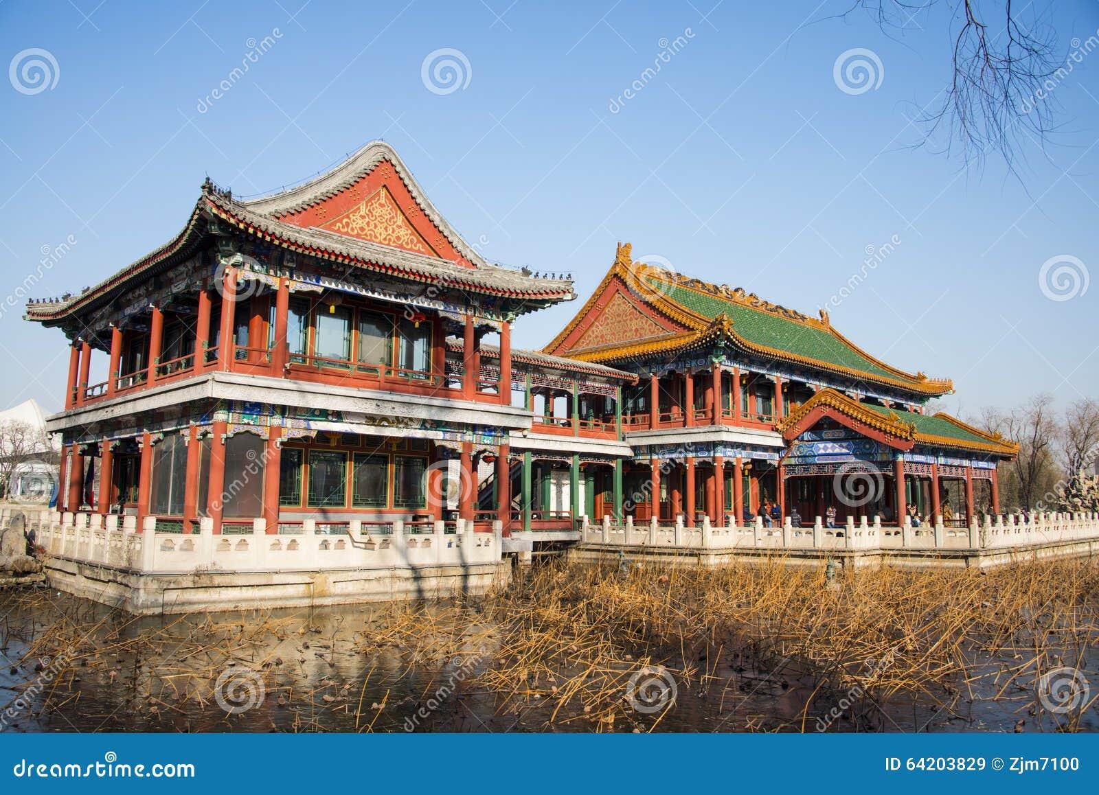 Chino de Asia, parque de Pekín, lago Longtan, edificio del jardín