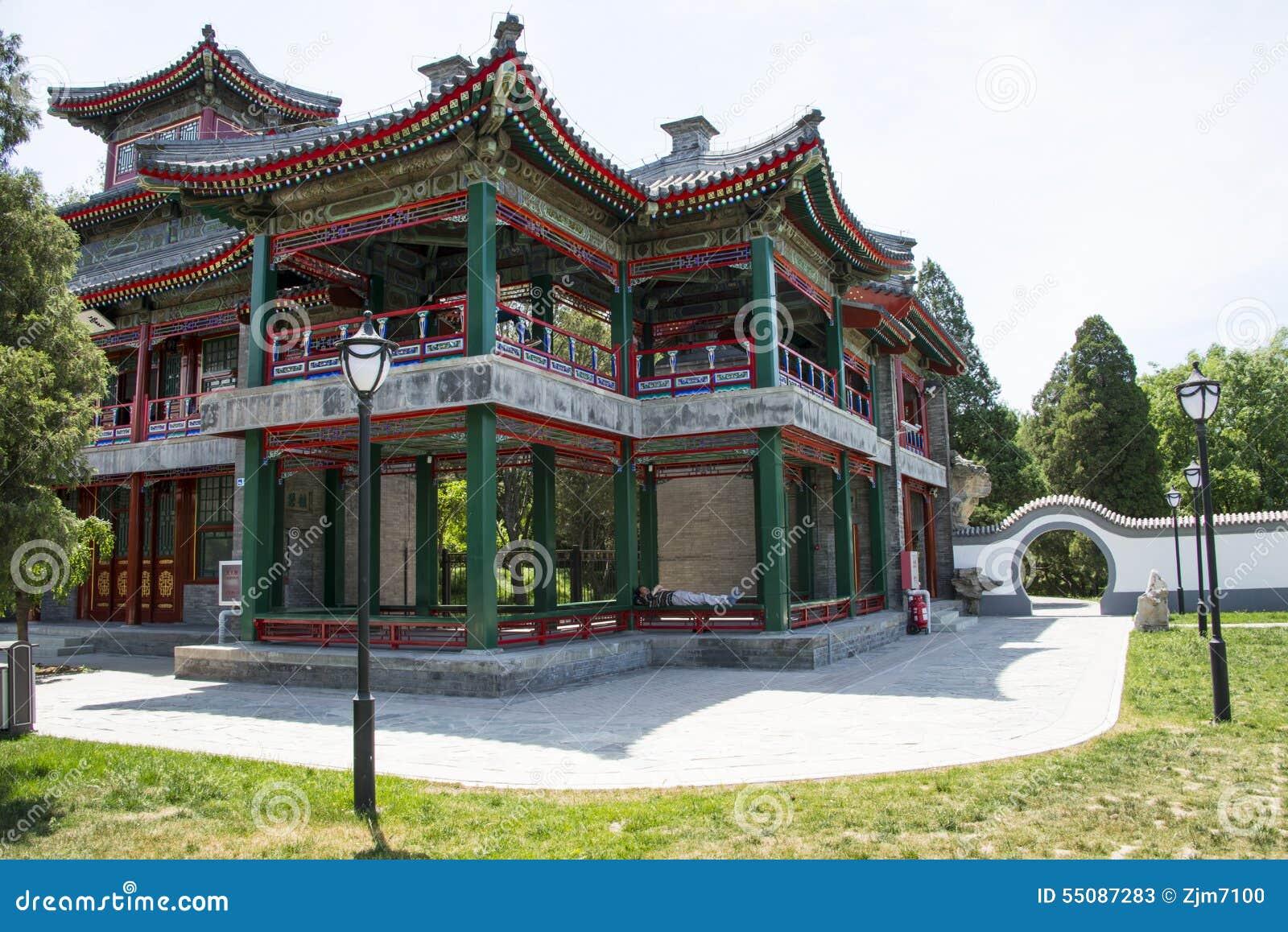 Chino De Asia Pekín Parque De Taoranting Arquitectura De