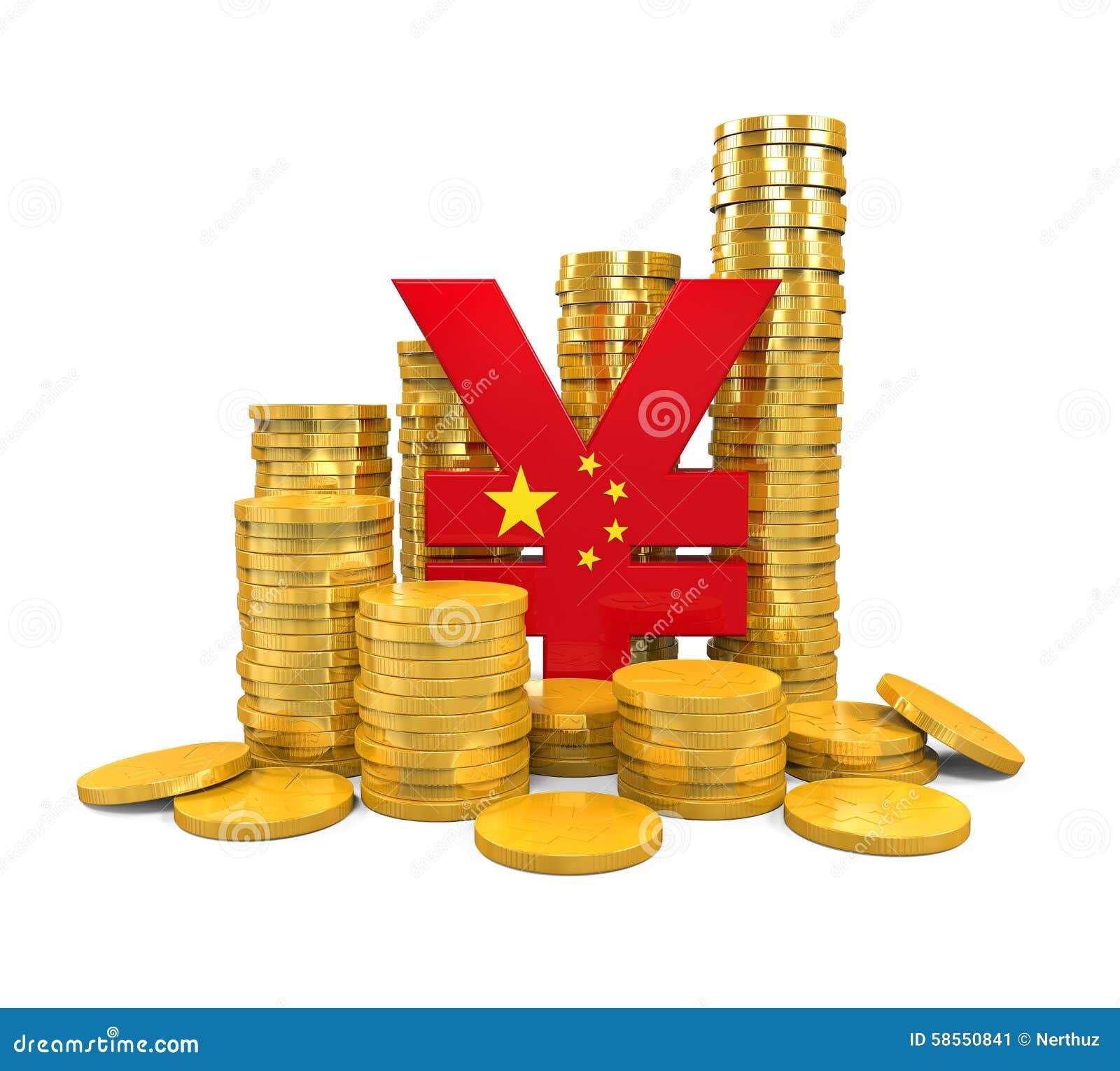 Chino Yuan Symbol y monedas de oro