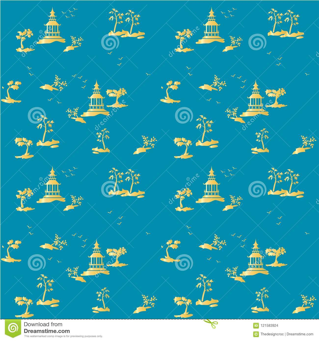 Chinoiserie Pattern Blue Golden Yellow Background Wallpaper Traditional Seamless
