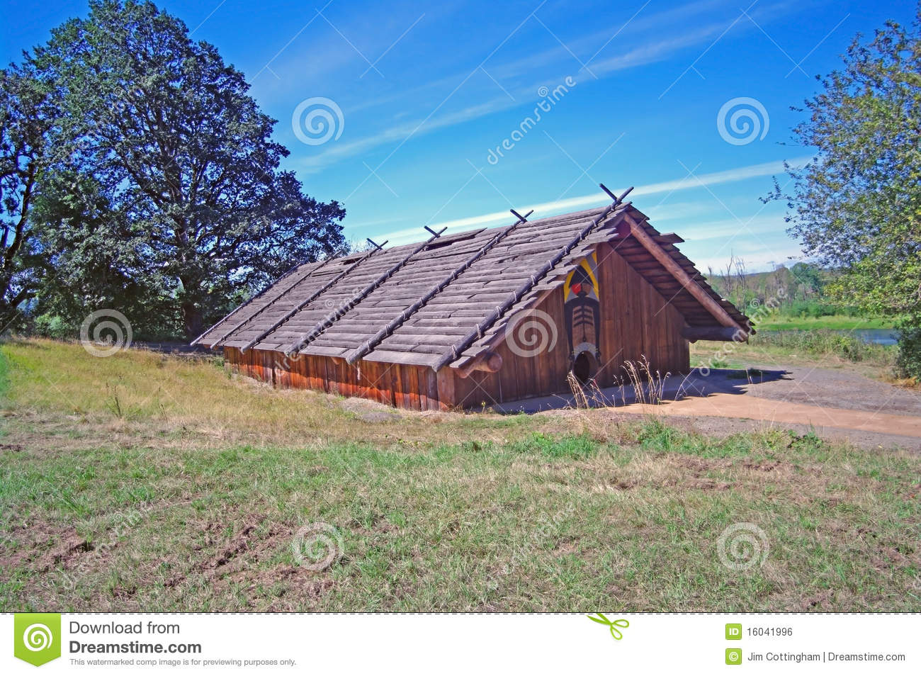 Chinook Indian Cedar Plankhouse Royalty Free Stock Image