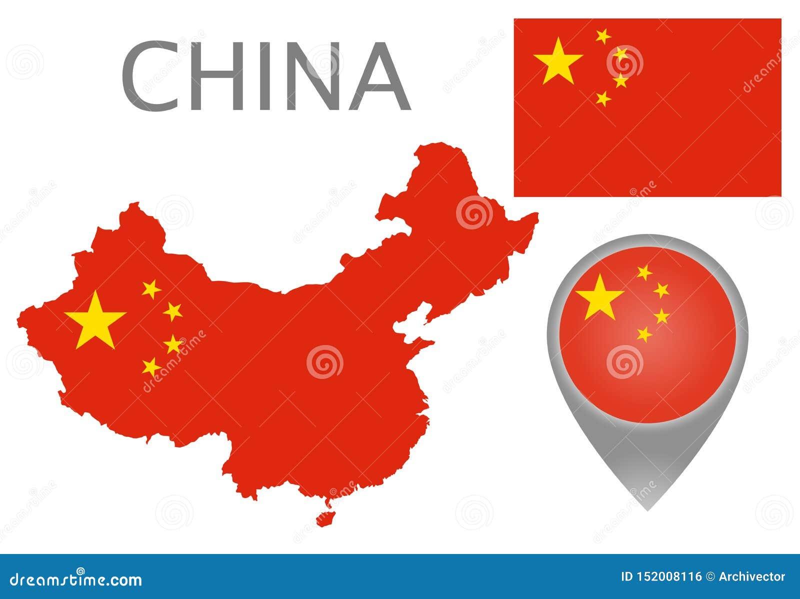 Chiny flaga, mapa i mapa pointer,