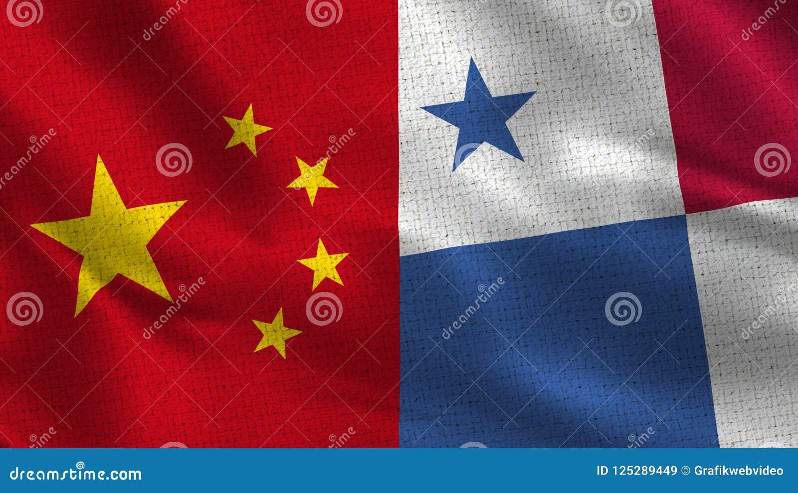 Chiny i Panama - Dwa Przyrodniej flaga Wpólnie