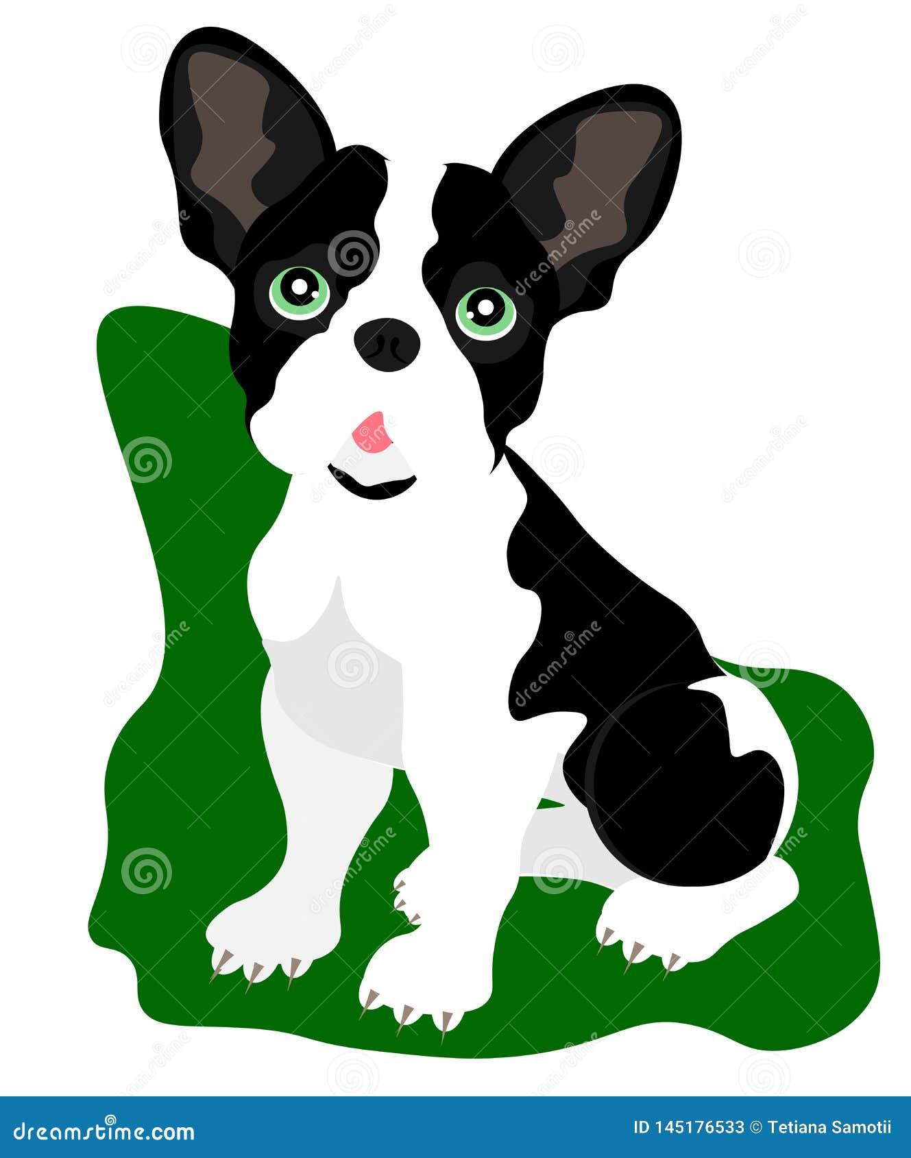 Chiot de bande dessinée de Web se reposant, portrait de collier de port mignon de petit chien Ami de chien Illustration de vecteu