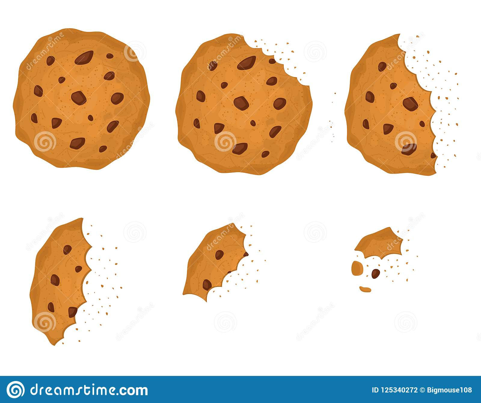 Chip Cookie mordido com grupo do chocolate Vetor