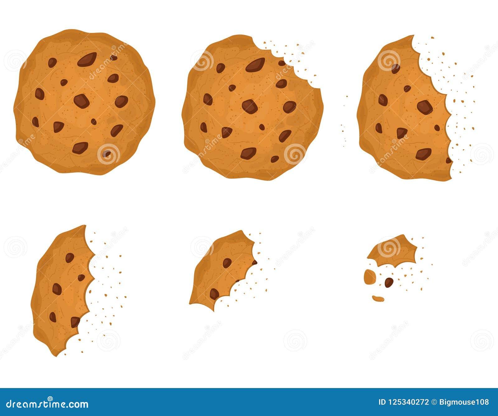 Chip Cookie pungente con l insieme del cioccolato Vettore