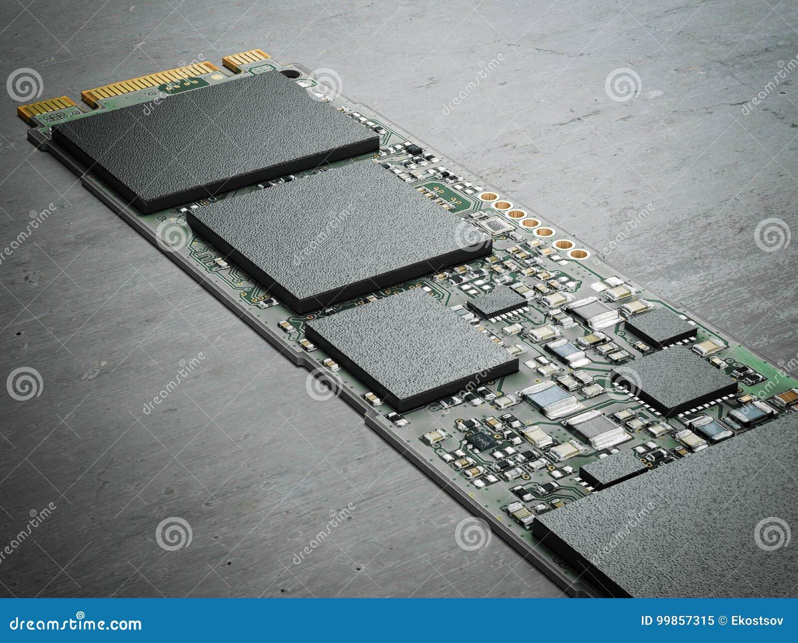 Chip de computador moderno rendição 3d