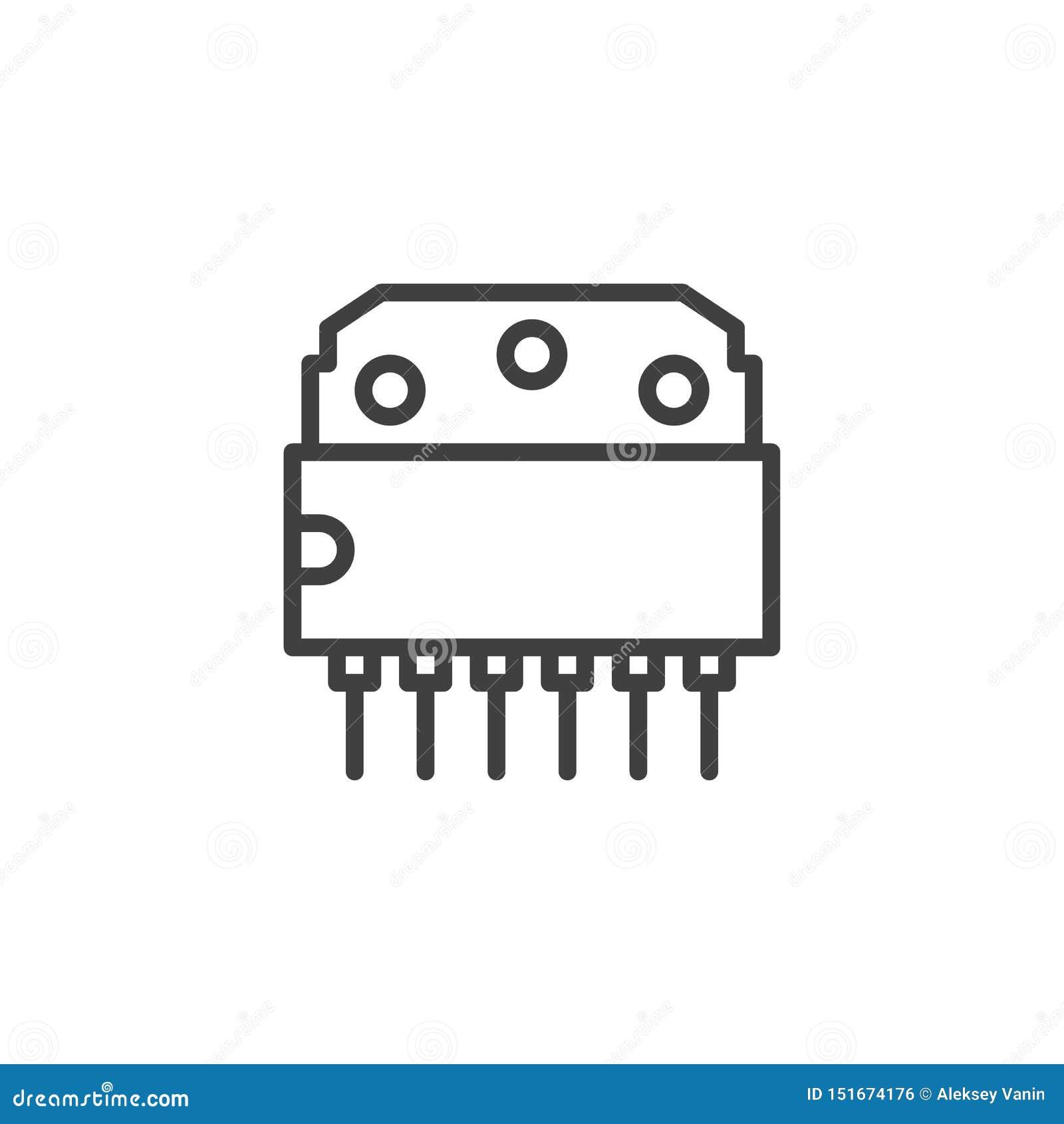 Chip komputerowy kreskowa ikona