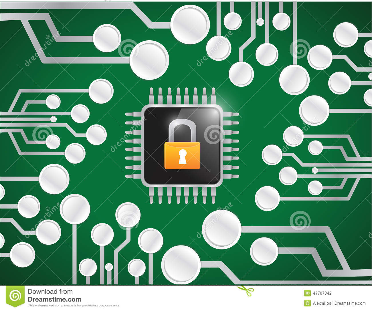 E-mail Symbol On Computer Chip Stock Image
