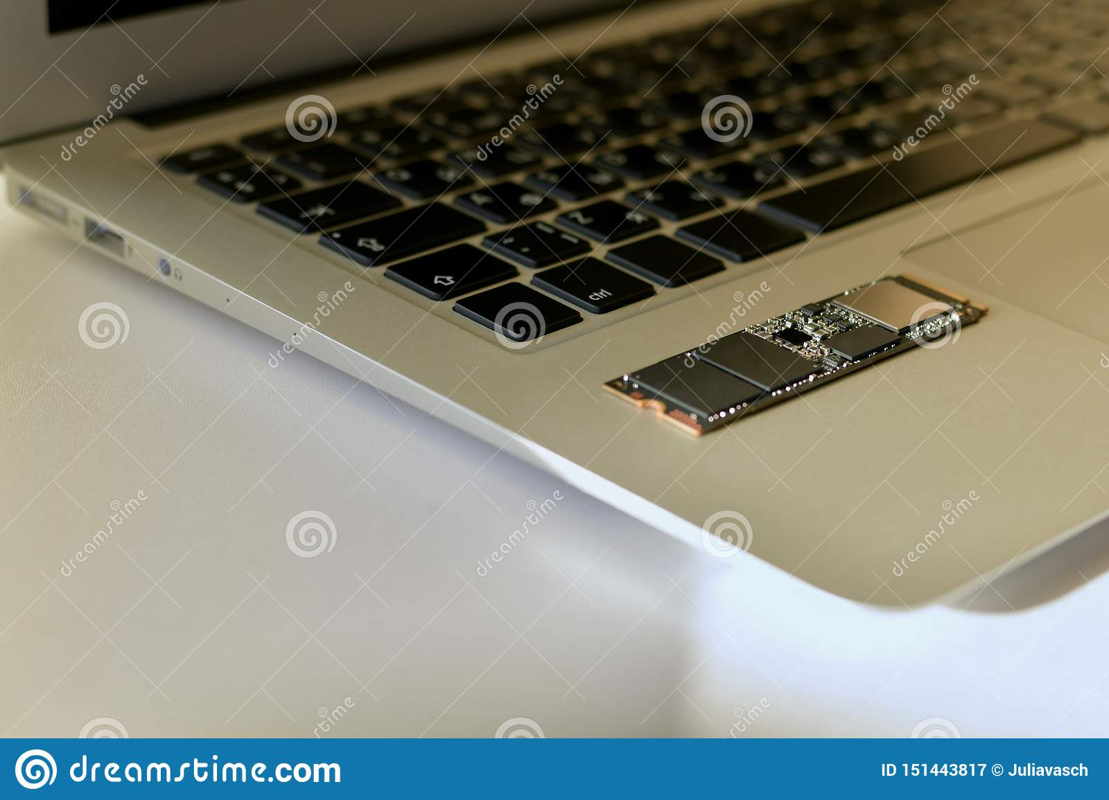 Chip SSD-drive on the keyboard.