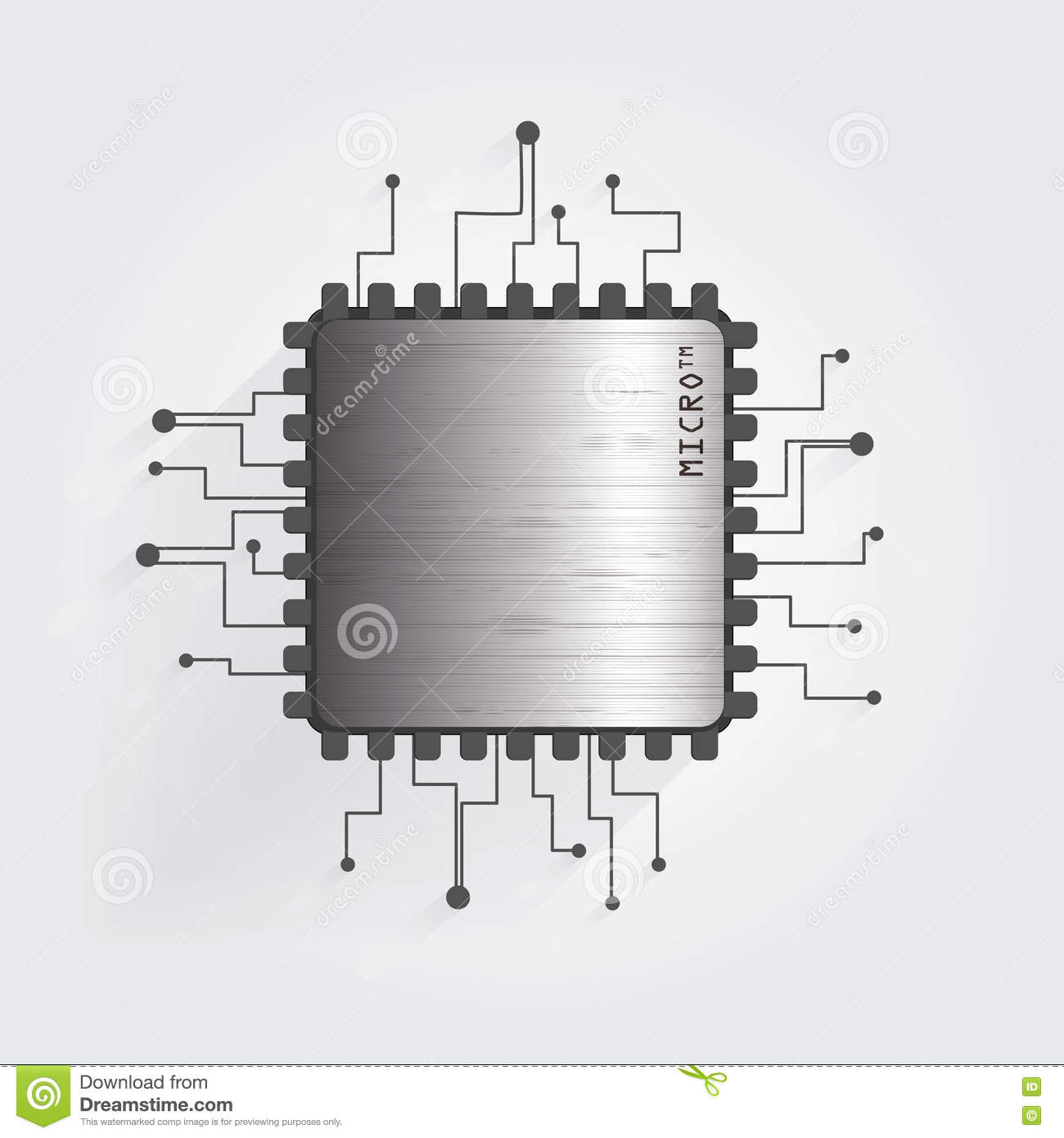 The Chip On A White Background Vector Stock Illustration Of Schematic Diagram Electronics Circuit Electronic Transistor