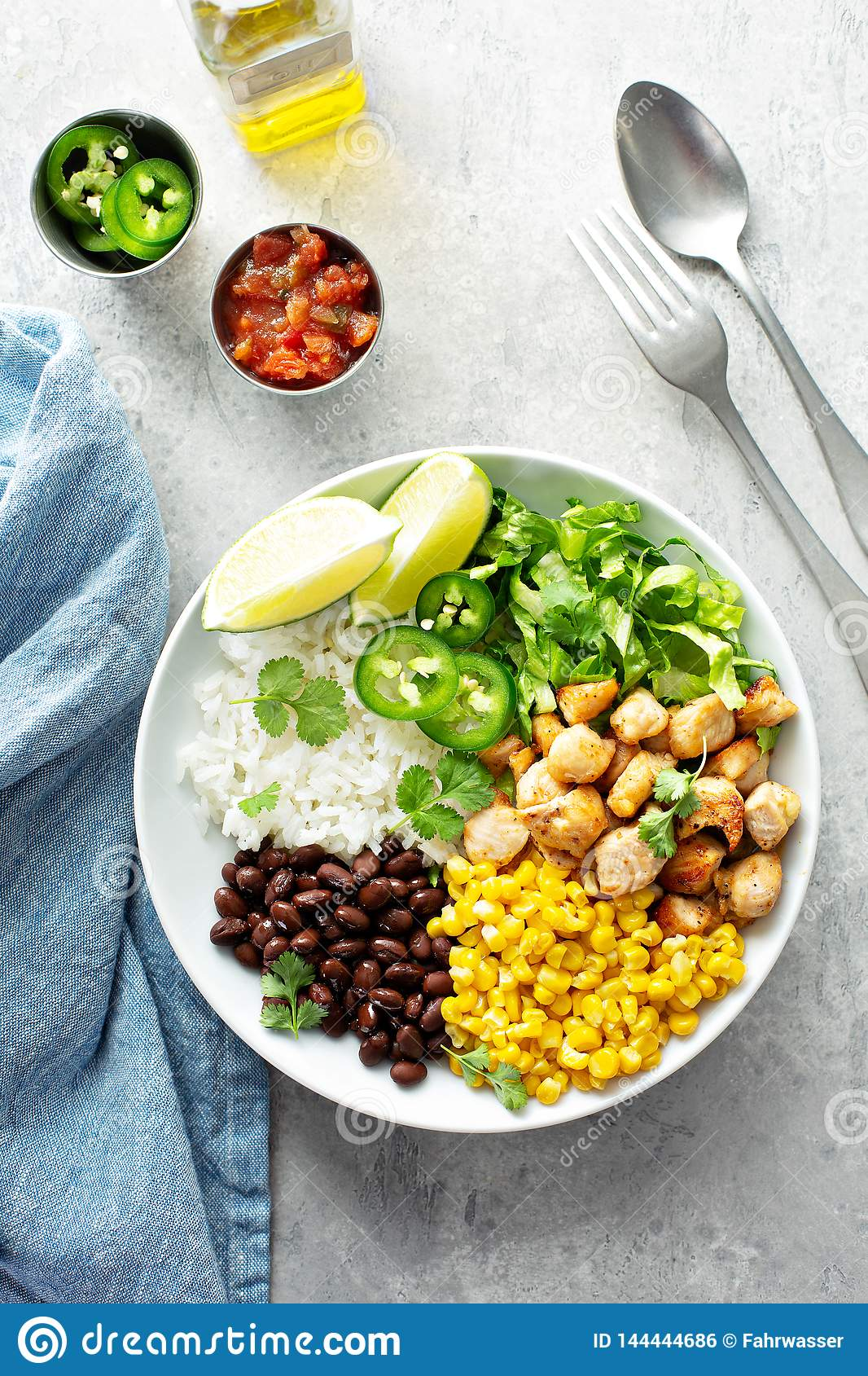 Chipotle spicy chicken with rice corn, beans