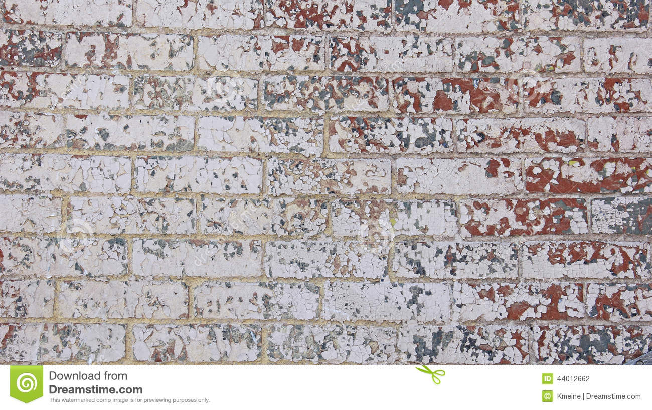 Chipped Red White Grey Blue Paint Brick Wall