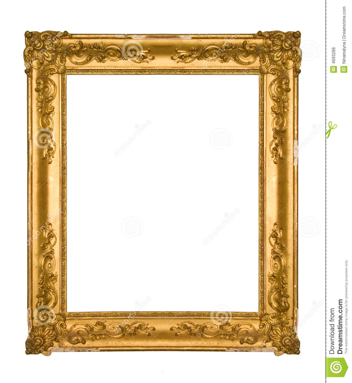 Chipped vintage gold ornate frame stock photo image of for How to make vintage frames